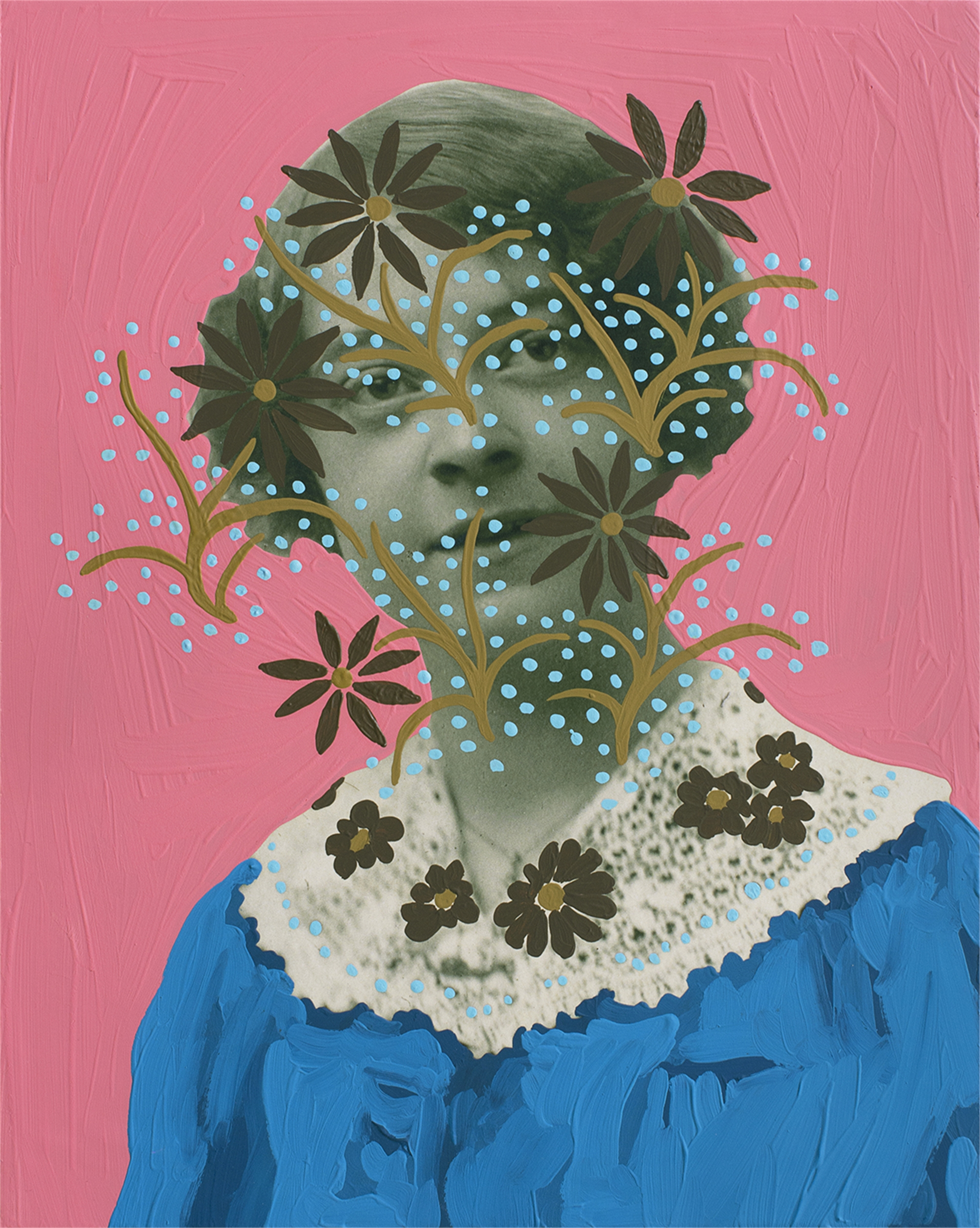 Untitled (Woman with Lace and Flowers) by Daisy Patton