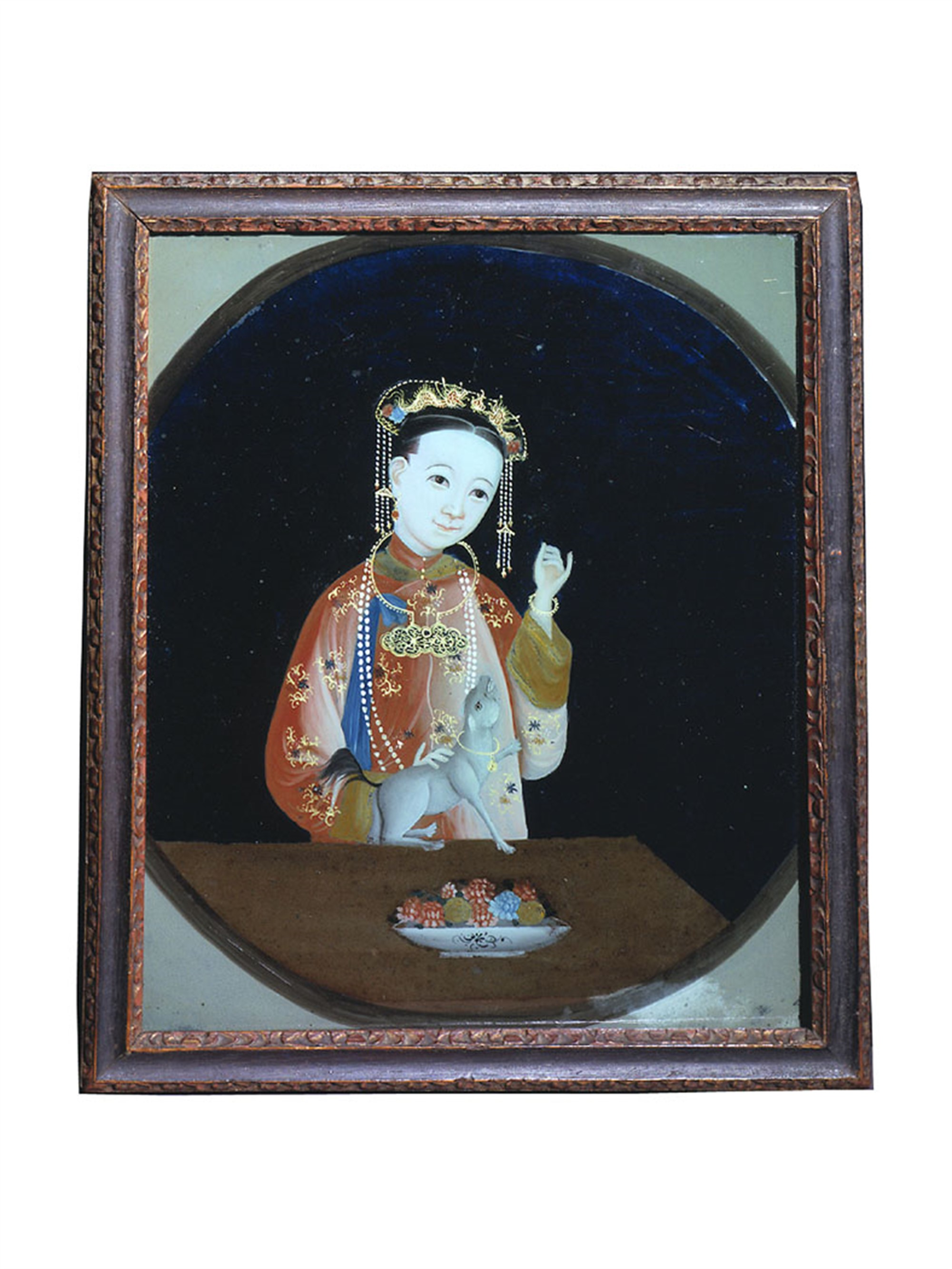 PAIR OF CHINESE REVERSE PAINTINGS ON GLASS WITH LADY AND HOUND
