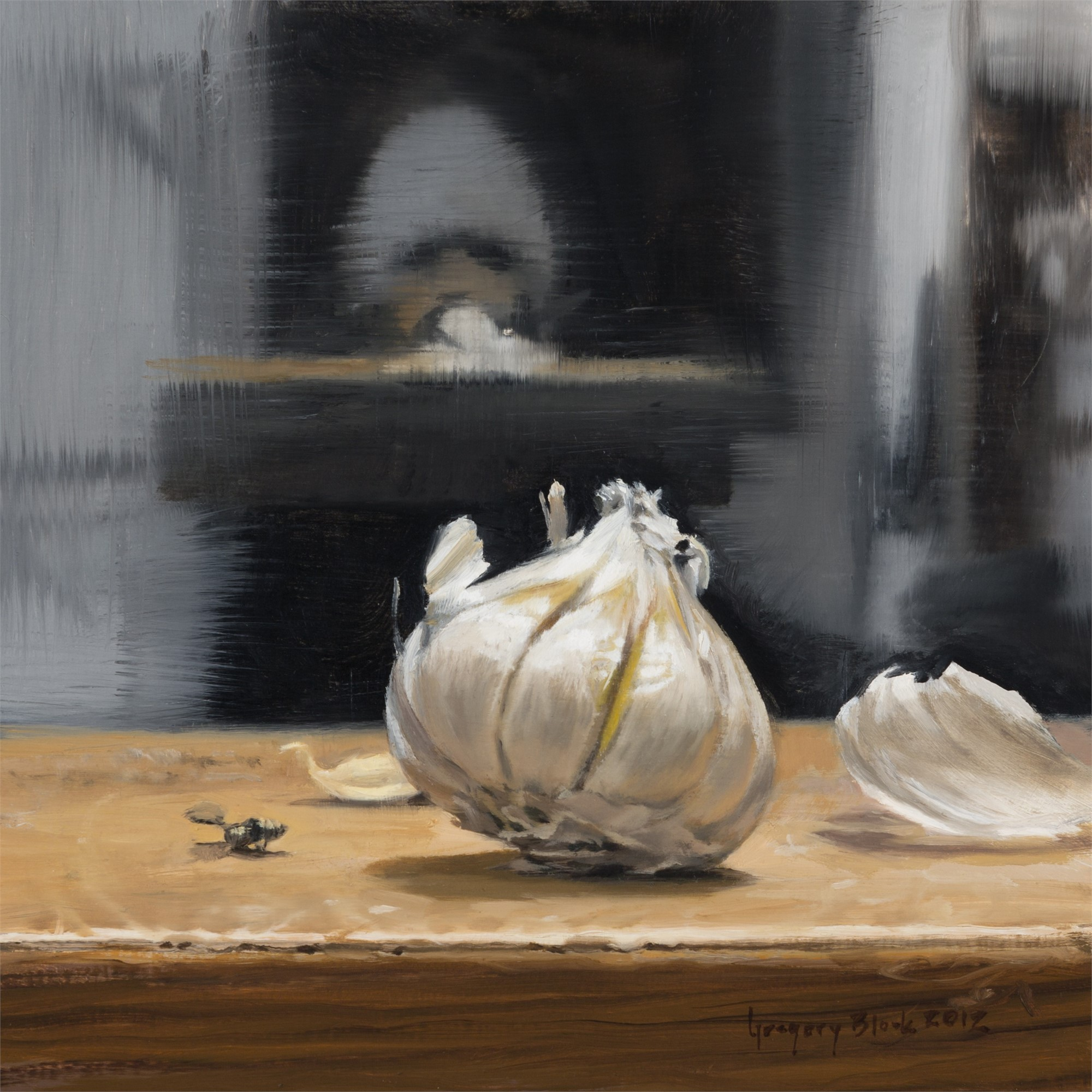 Garlic and Self Portrait in Gray Hat by Gregory Block