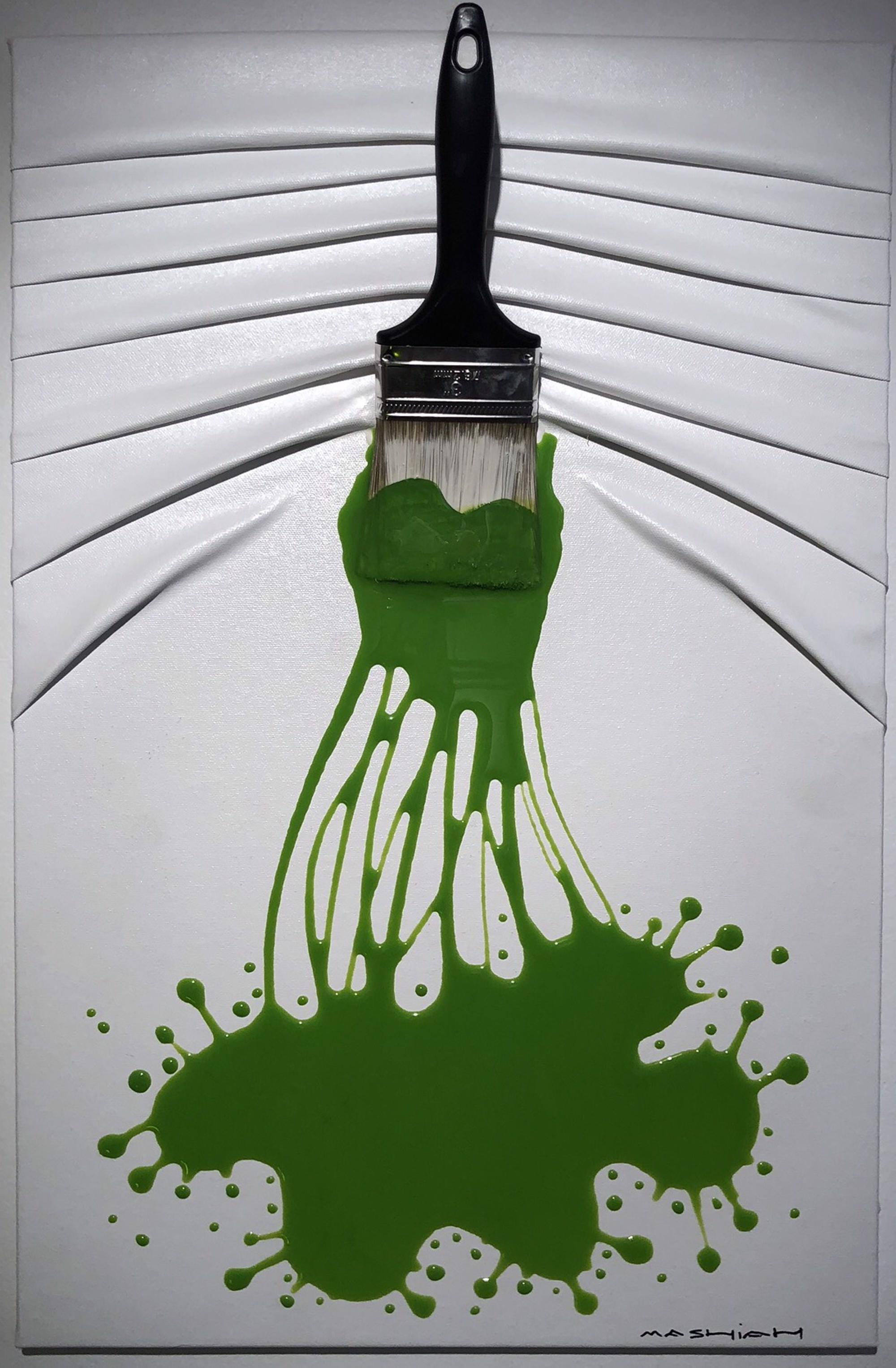 """Let's Paint"" small, Green splash on White by Efi Mashiah"