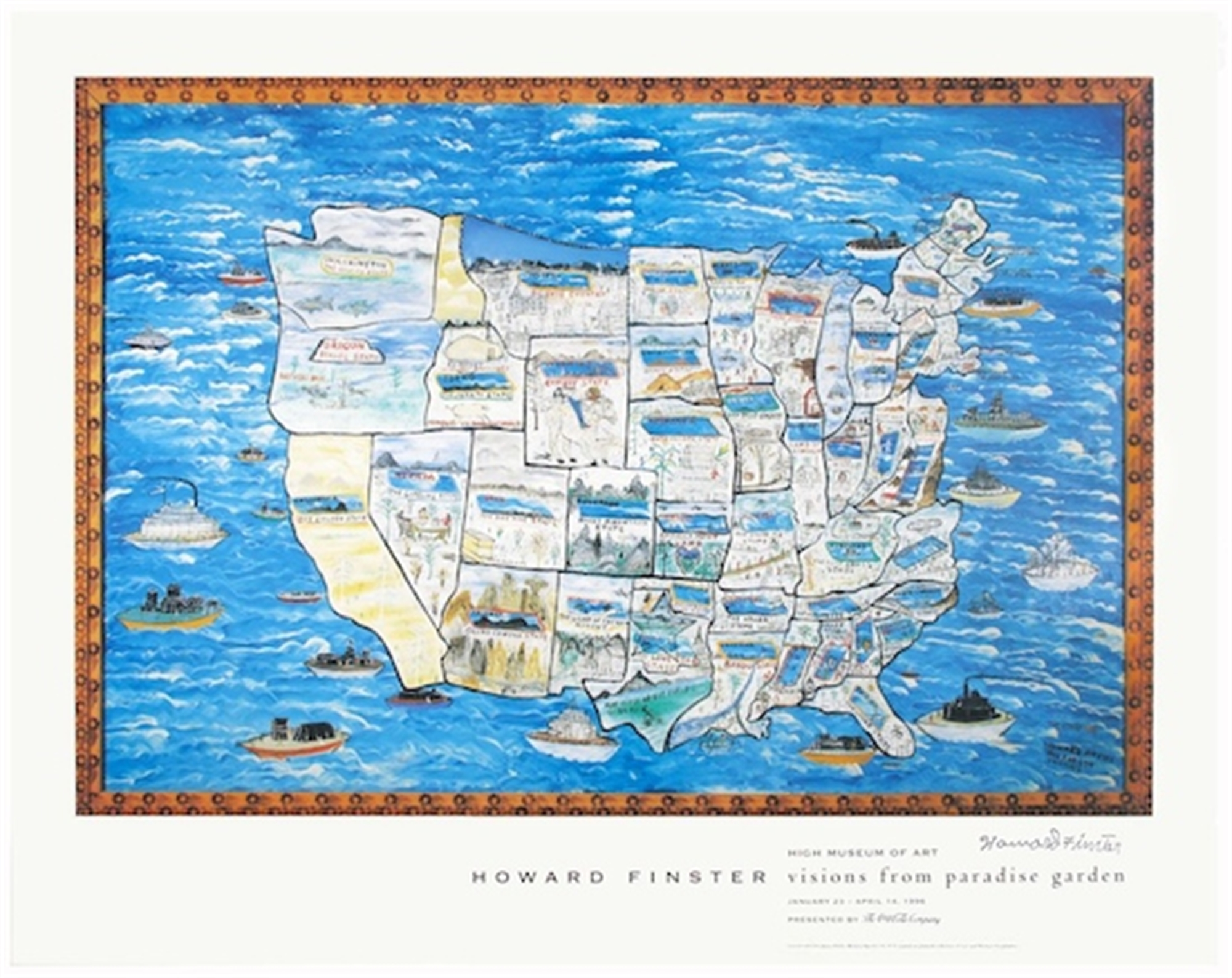 Story Map of the United States by Howard Finster