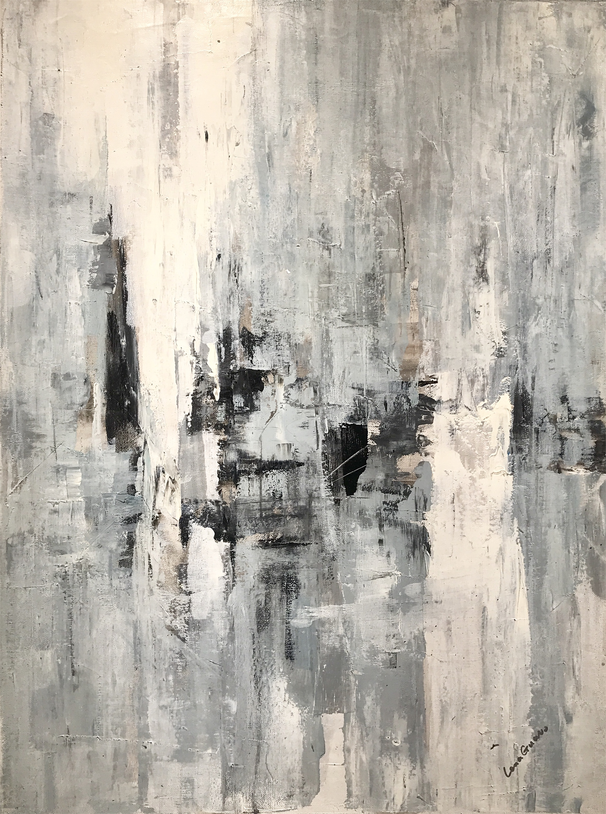 ABSTRACT NEUTRAL BLUE GRAY BLACK by LENA GUAVO