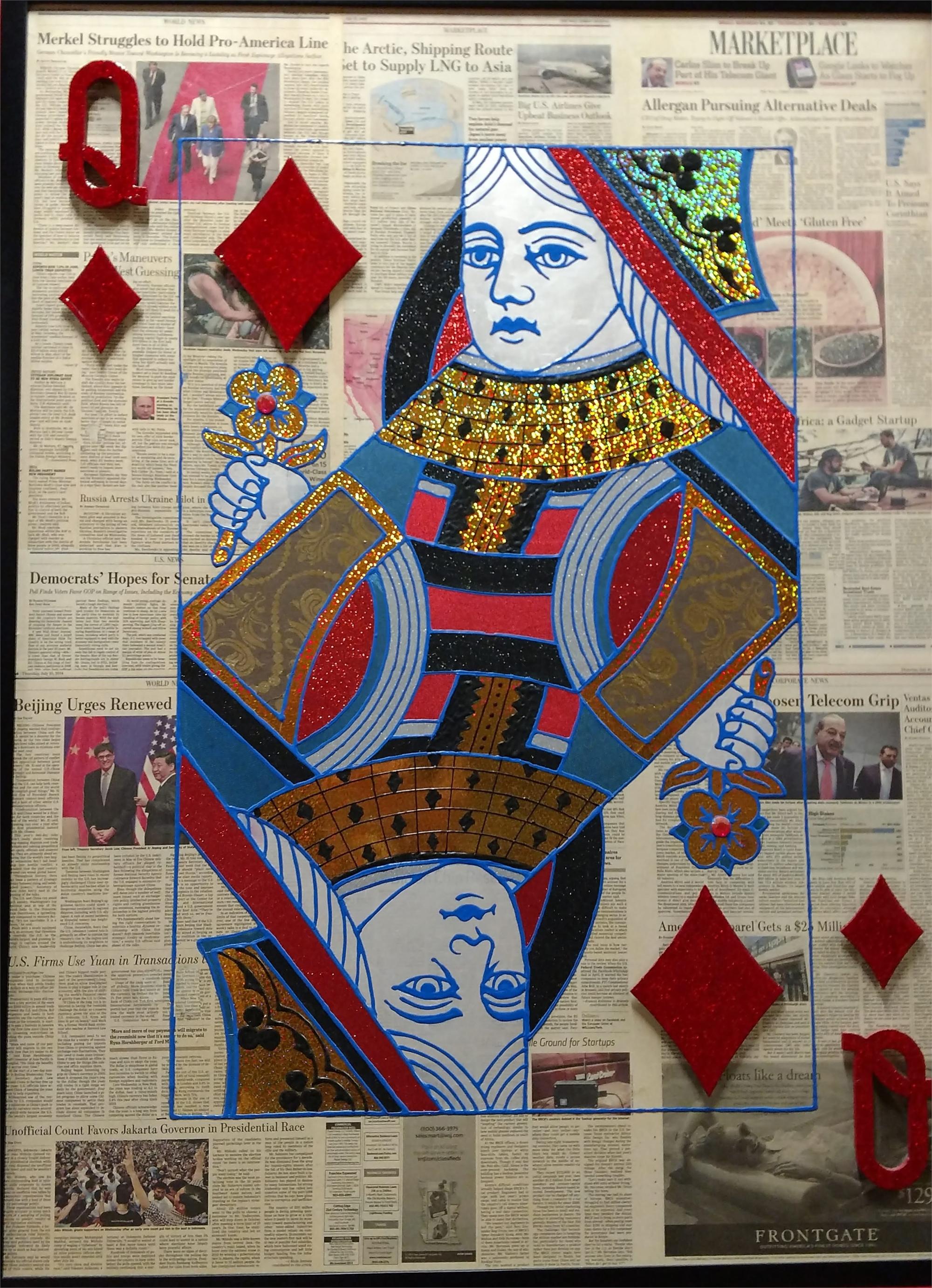 """Queen Of Diamonds"" Poker Card on Wall street Journal by Elena Bulatova"