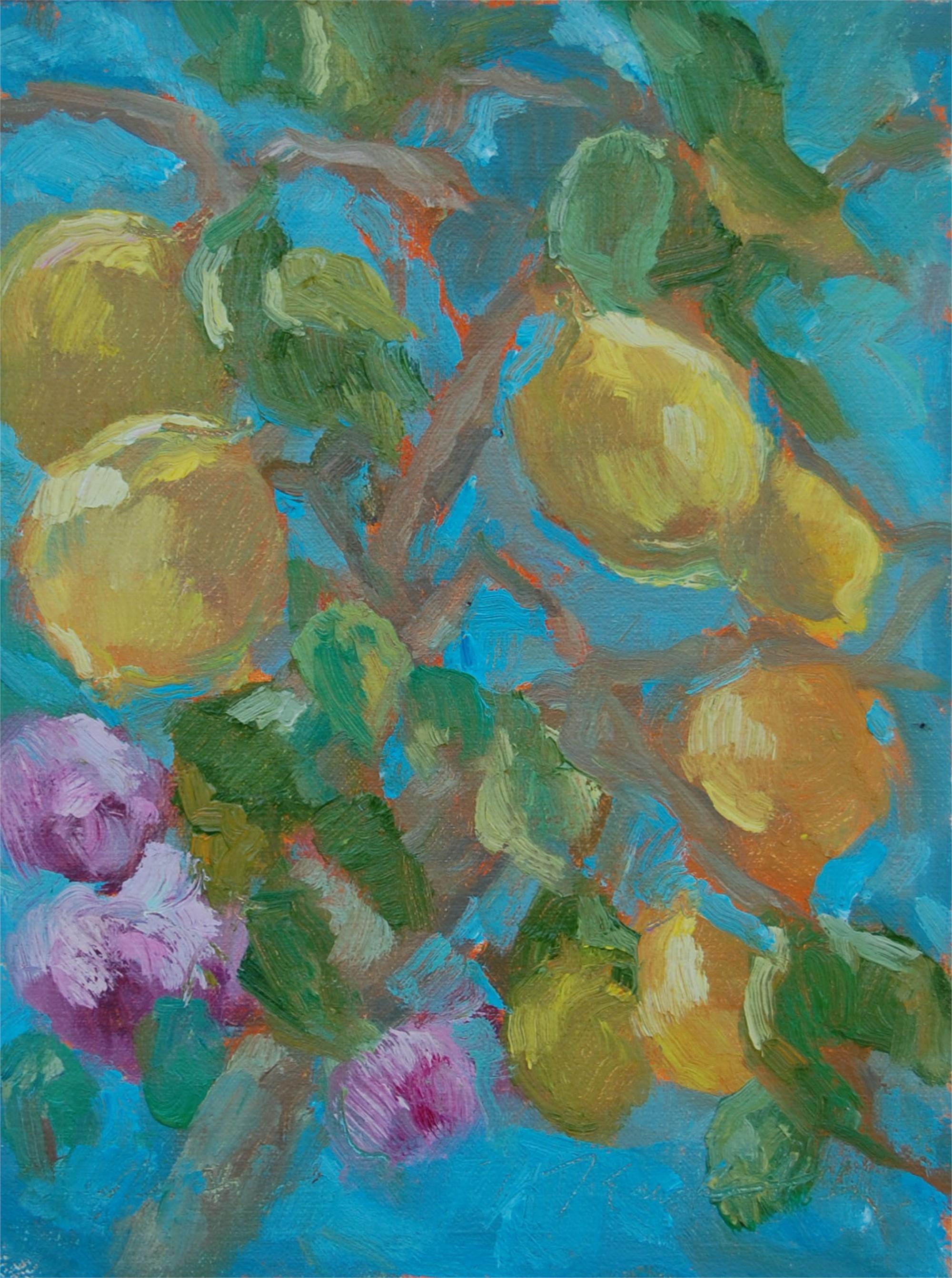 Lemons and Roses at an Italian Villa by Karen Hewitt Hagan