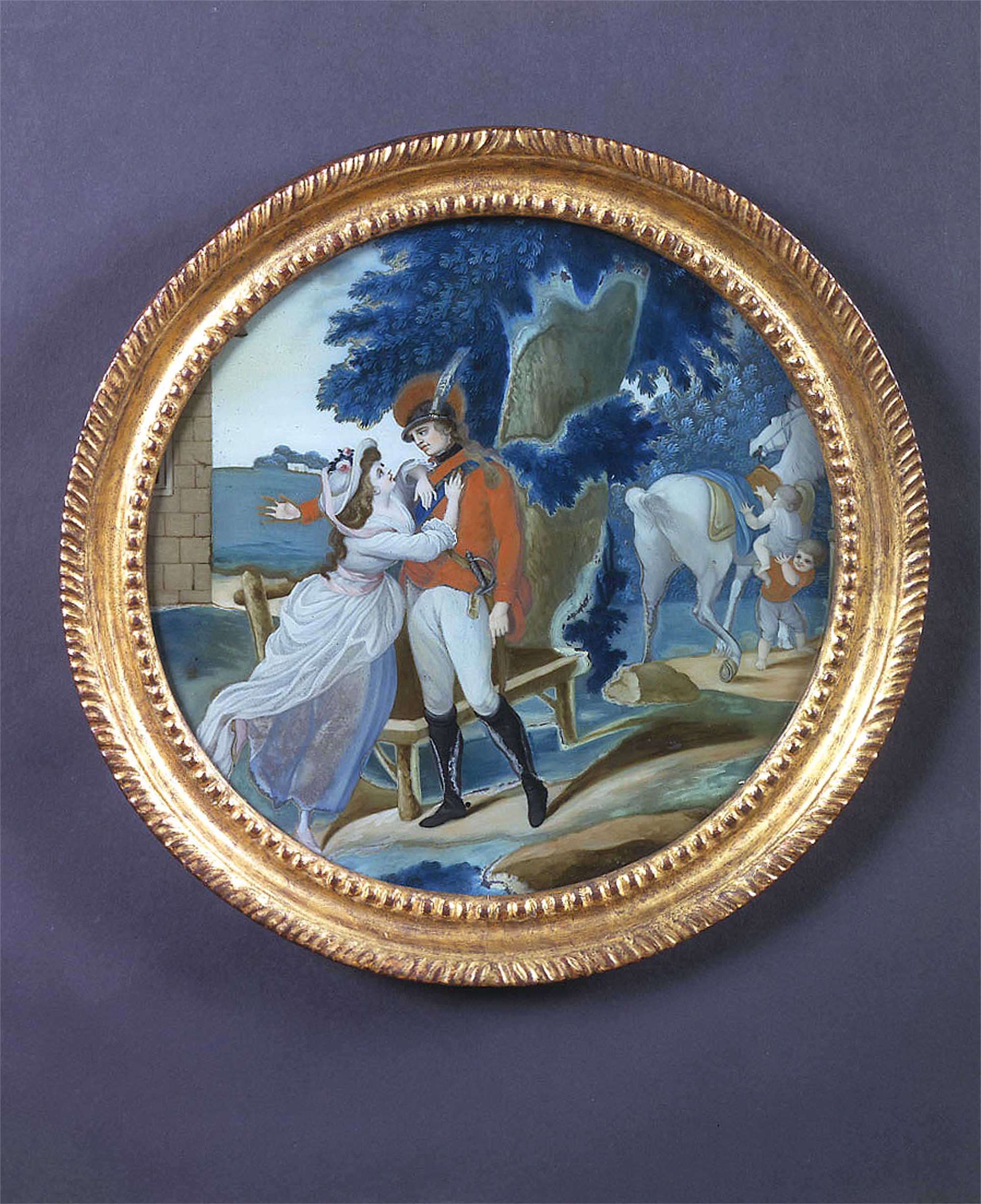ROUND REVERSE PAINTING ON GLASS WITH LADY EMBRACING OFFICER
