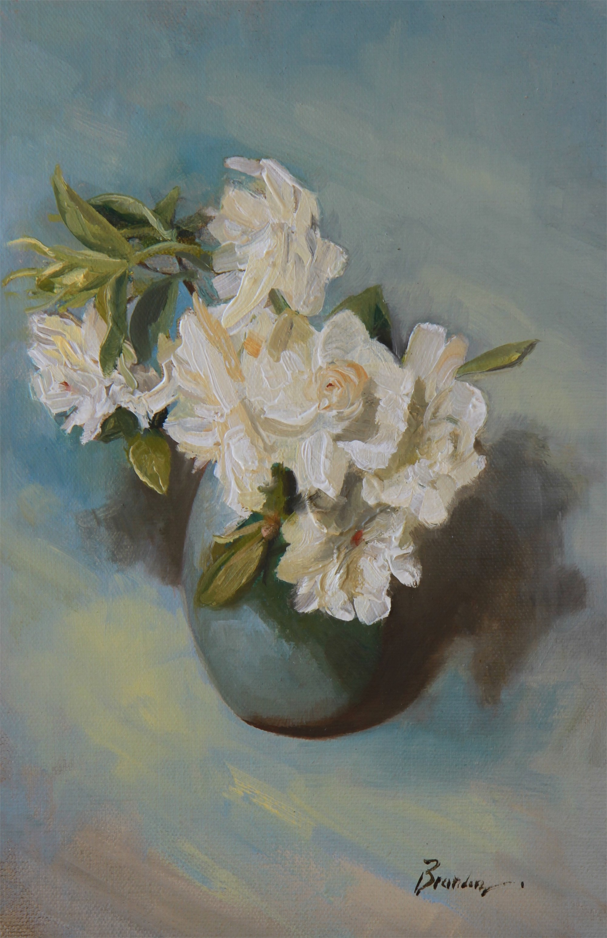 Gardenia on Blue by Linda Tracey Brandon