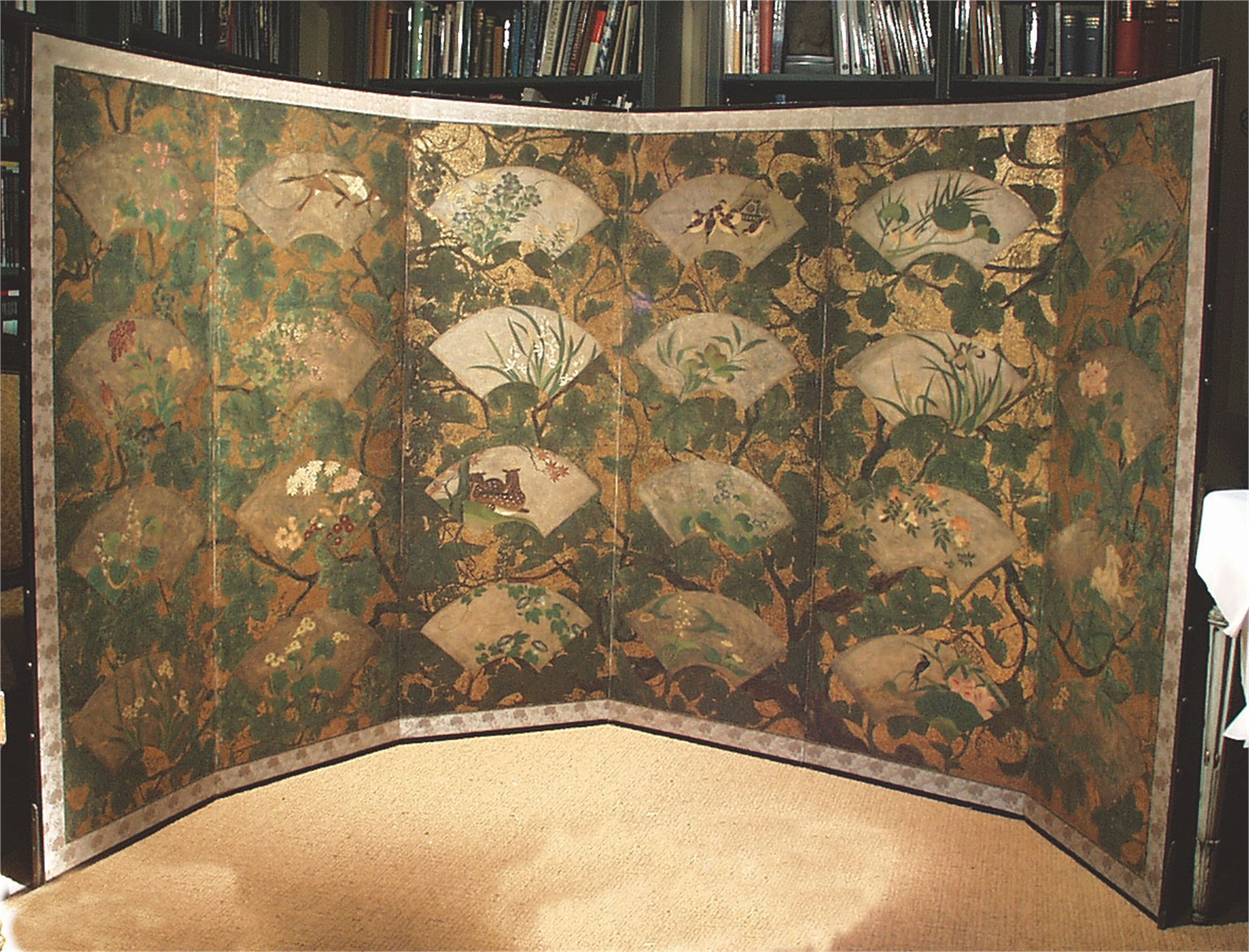 JAPANESE SCREEN WITH FANS AND FOLIAGE