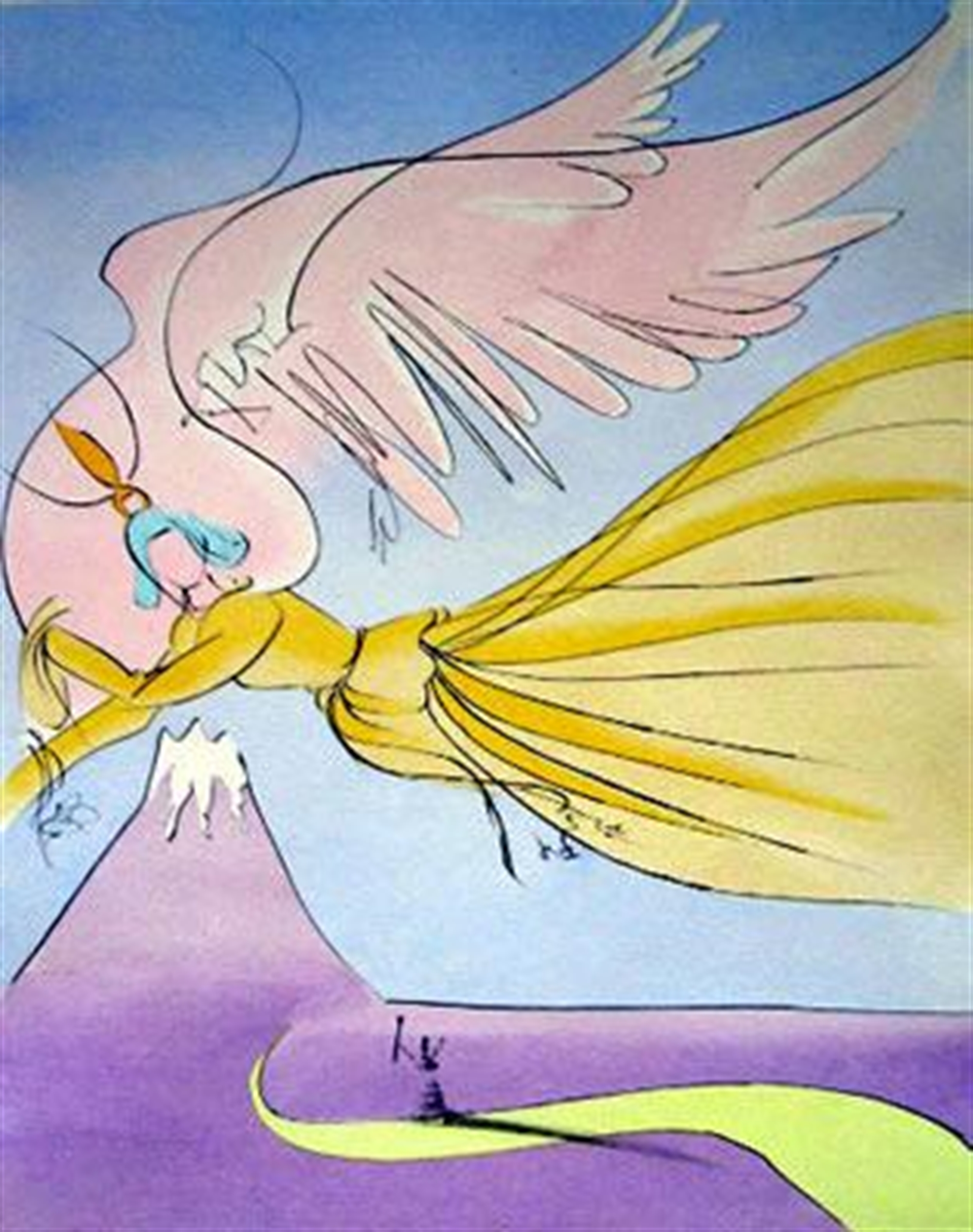 The Robe of Feathers (Japanese Fairy Tales, suite of 10) by Salvador Dali