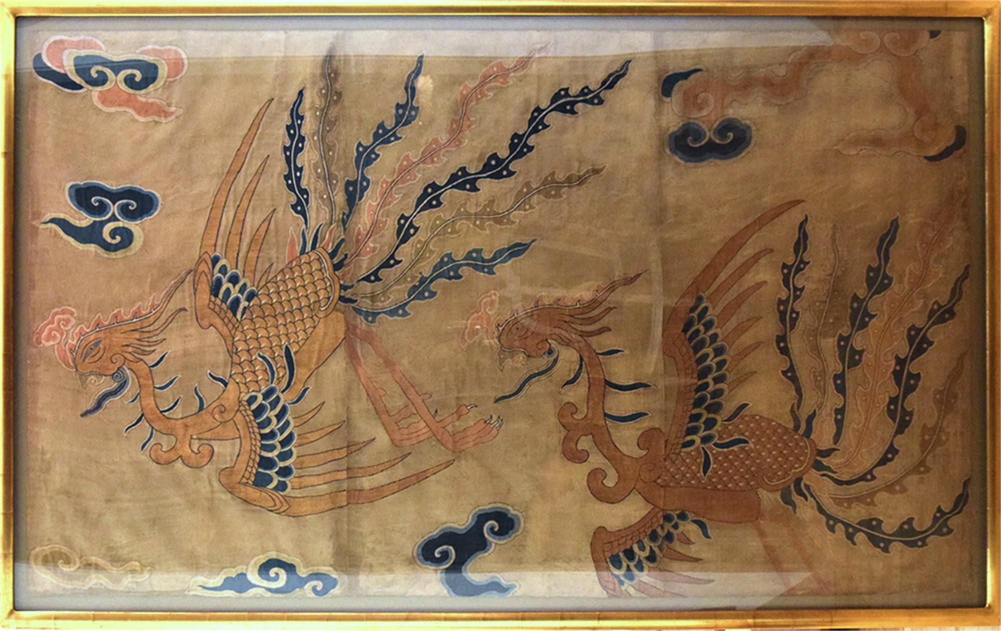 CHINESE SILK MOUNTED EMBROIDERY, KOSU WITH PHOENIX