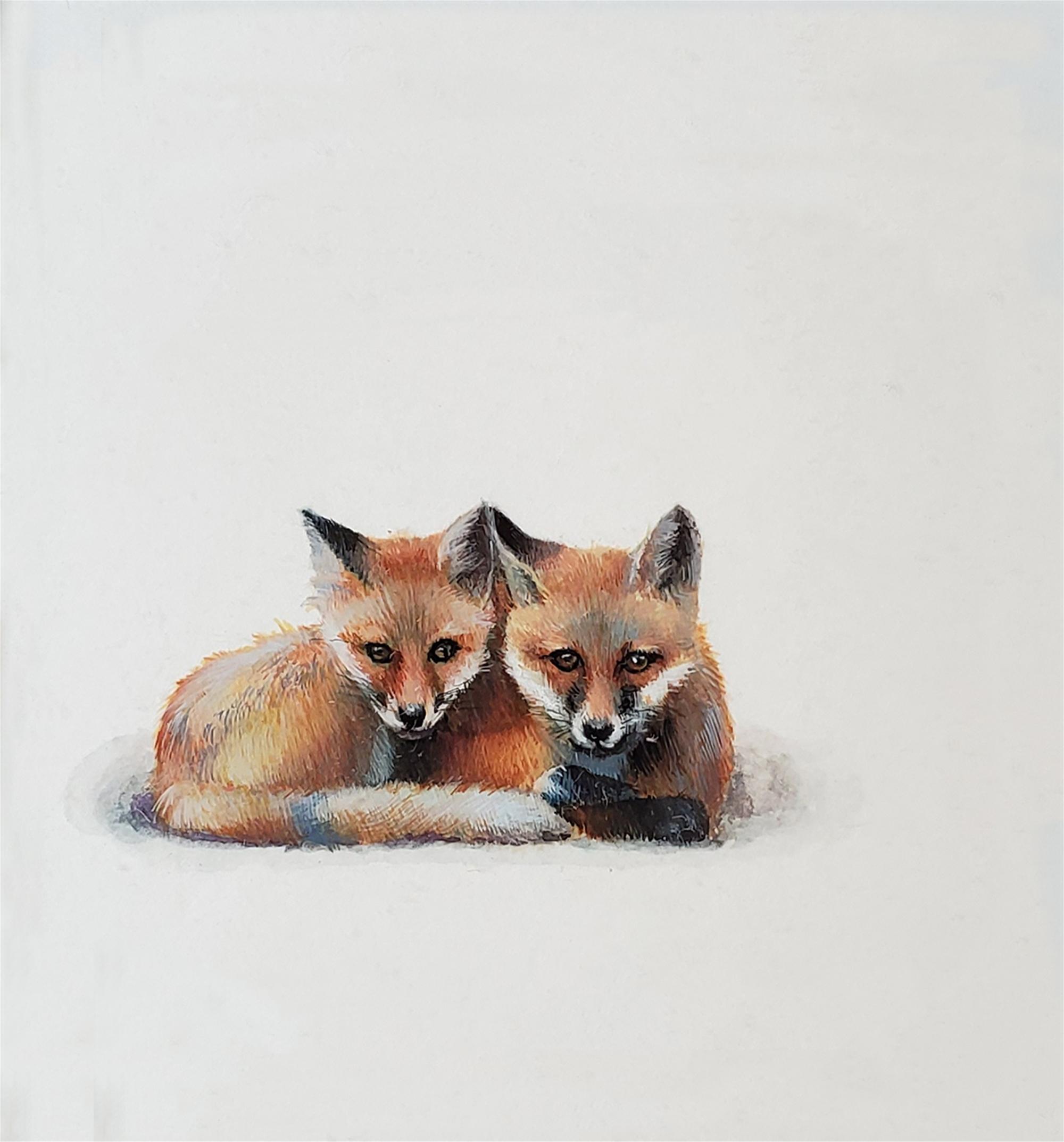 Fox Cubs by Dina Brodsky