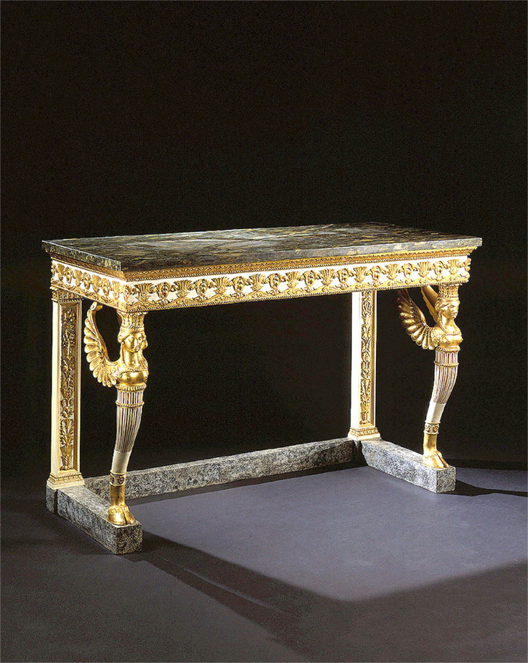 NORTHERN ITALIAN PARCEL GILT AND PAINTED CONSOLE TABLE WITH MARBLE TOP