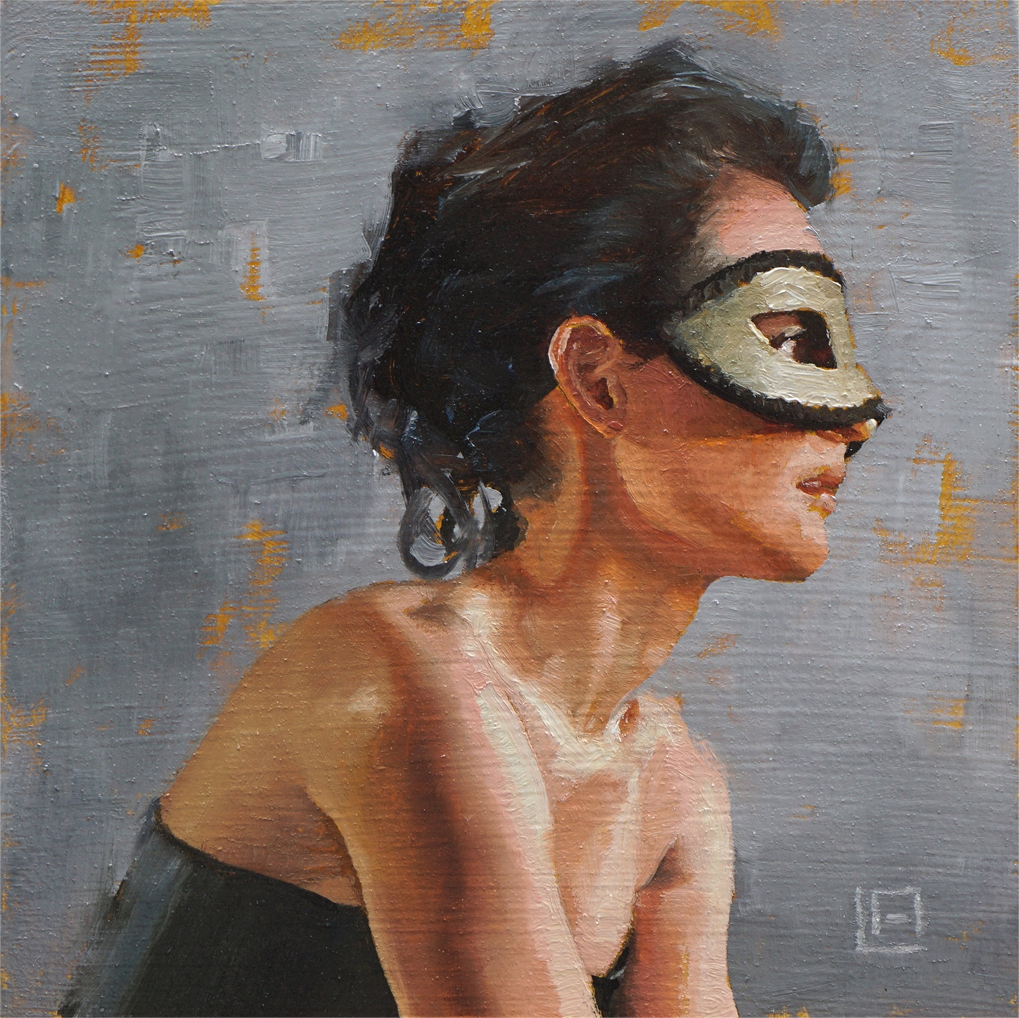 Lady with Mask by Linda Adair