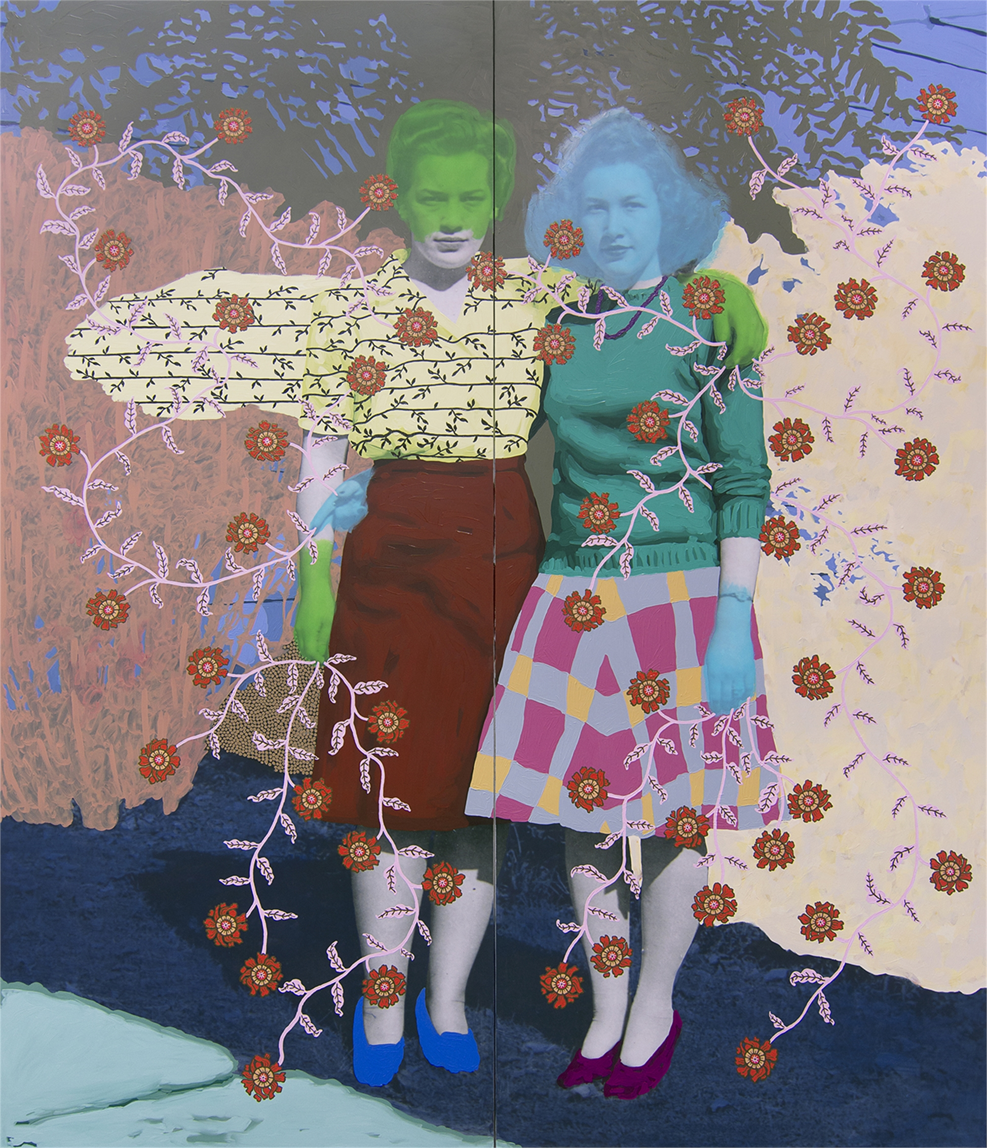 Untitled (Sisters Between Hedges) by Daisy Patton