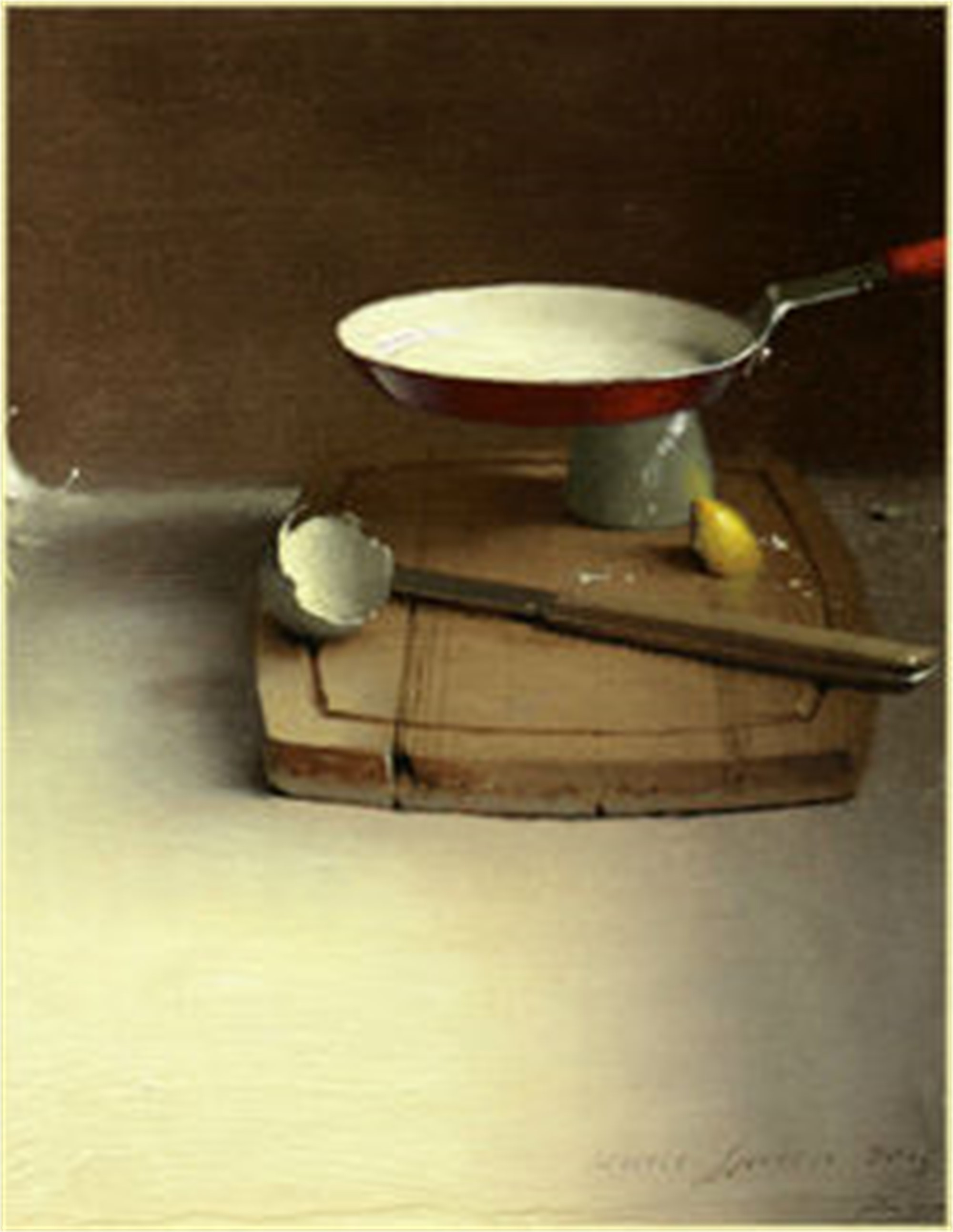 Red Pan and Cutting Board by Daniel Sprick