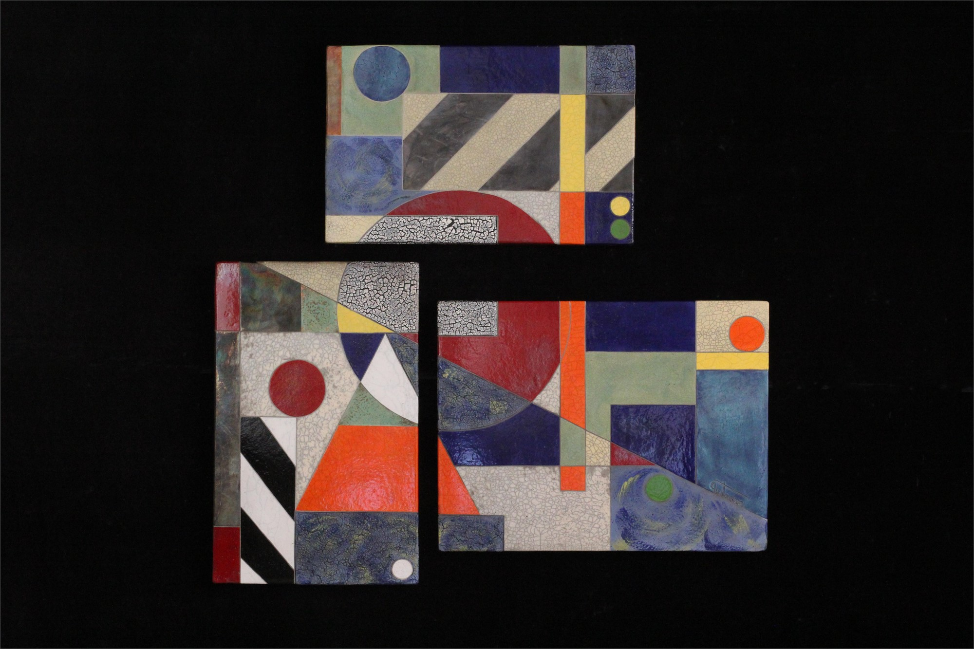 Aerial View - Triptych 44.5x46 by Michael Gustavson