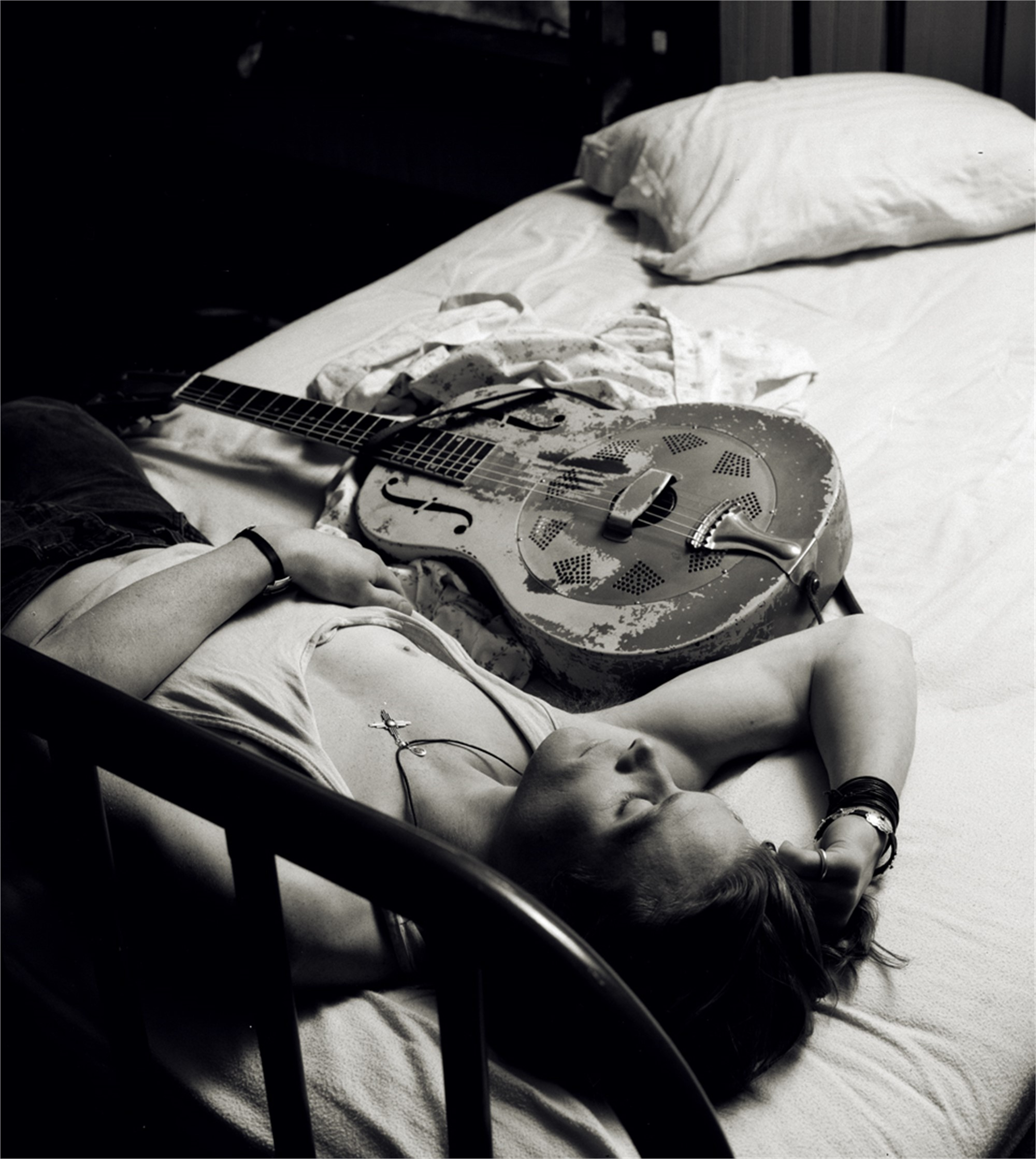 91026 Chris Whitley Bed with Guitar 01 Crop 2 BW by Timothy White