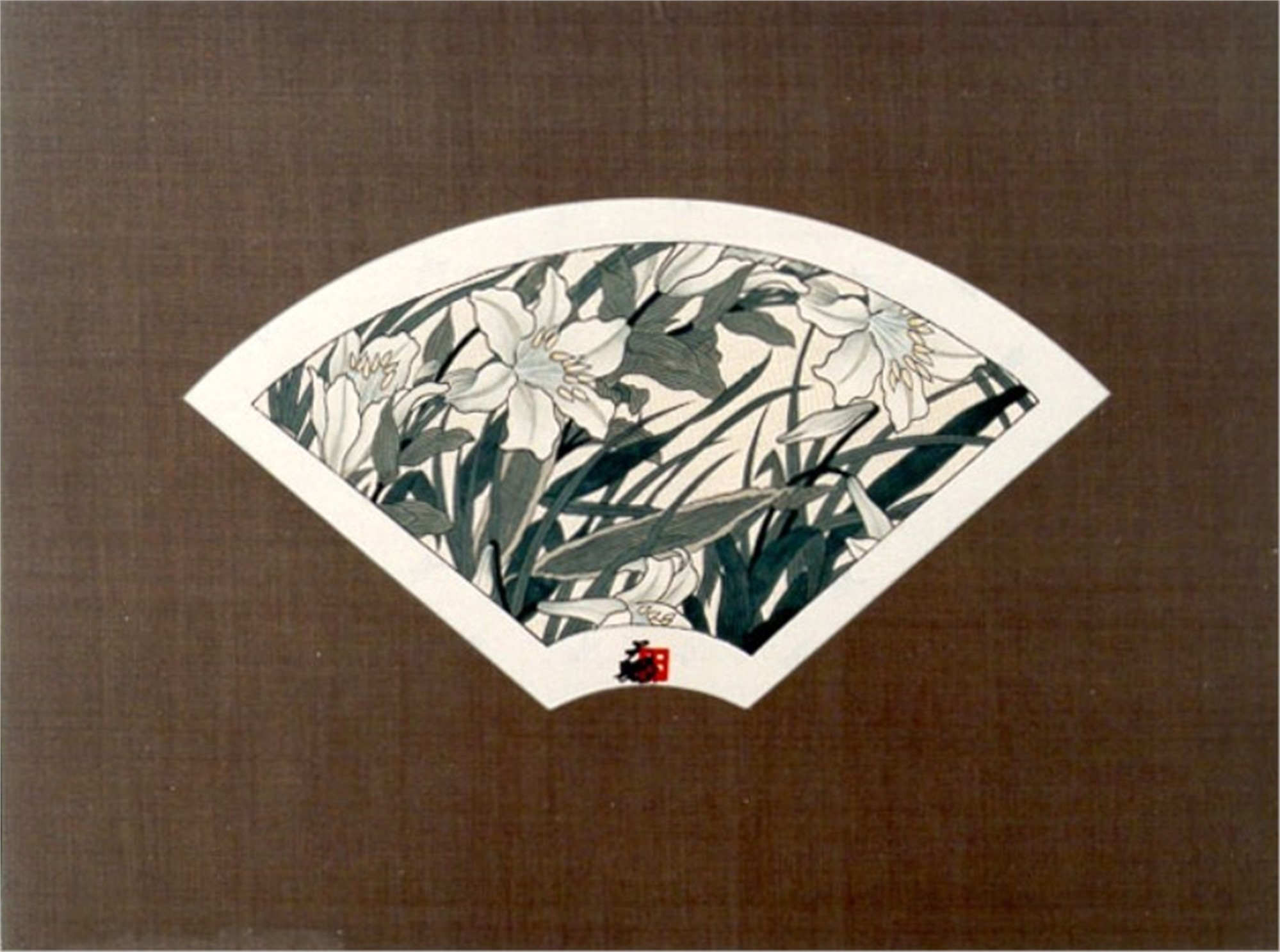 Fan - Silver Lilies by Hisashi Otsuka