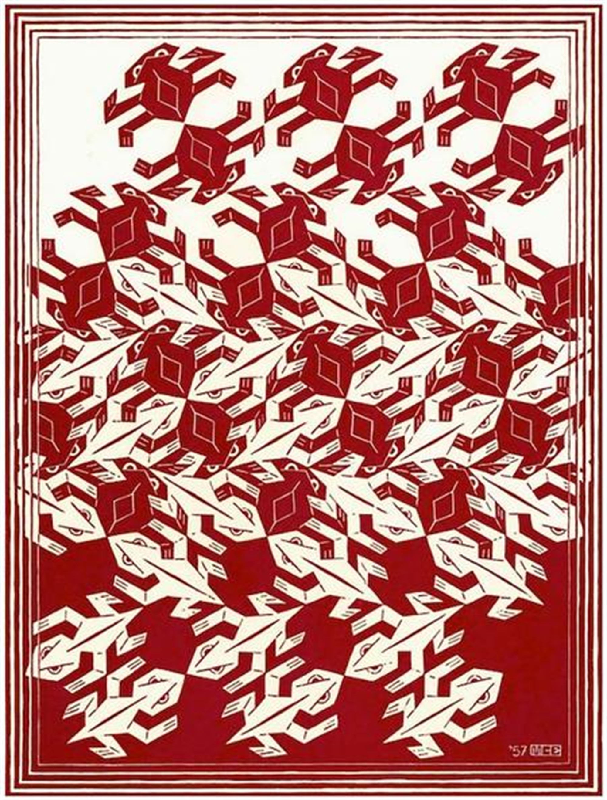 Regular Division of the Plane V (Red) by M.C. Escher