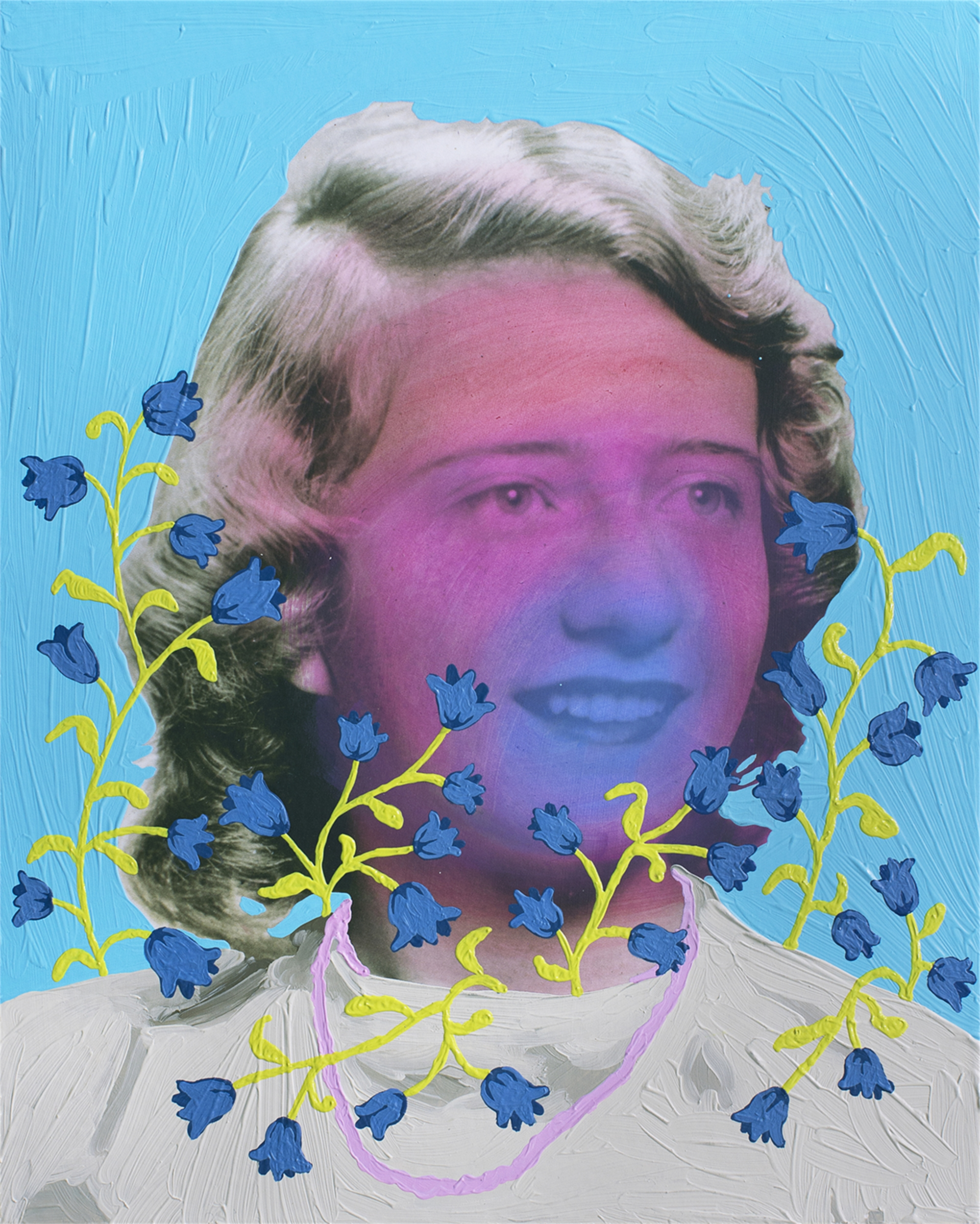Untitled (Magenta Woman with Bluebells) by Daisy Patton