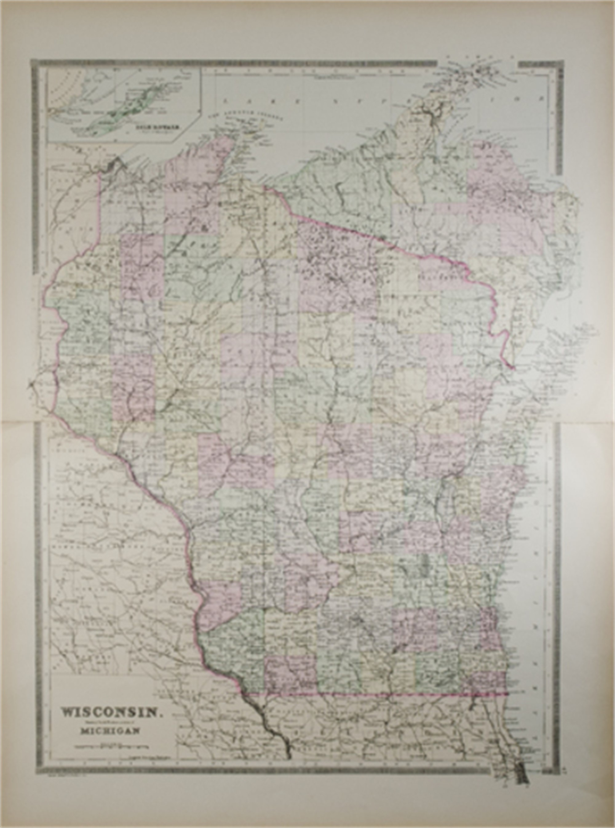 Wisconsin Map Showing Northwestern Portion of Michigan by William M. Bradley & Bros.