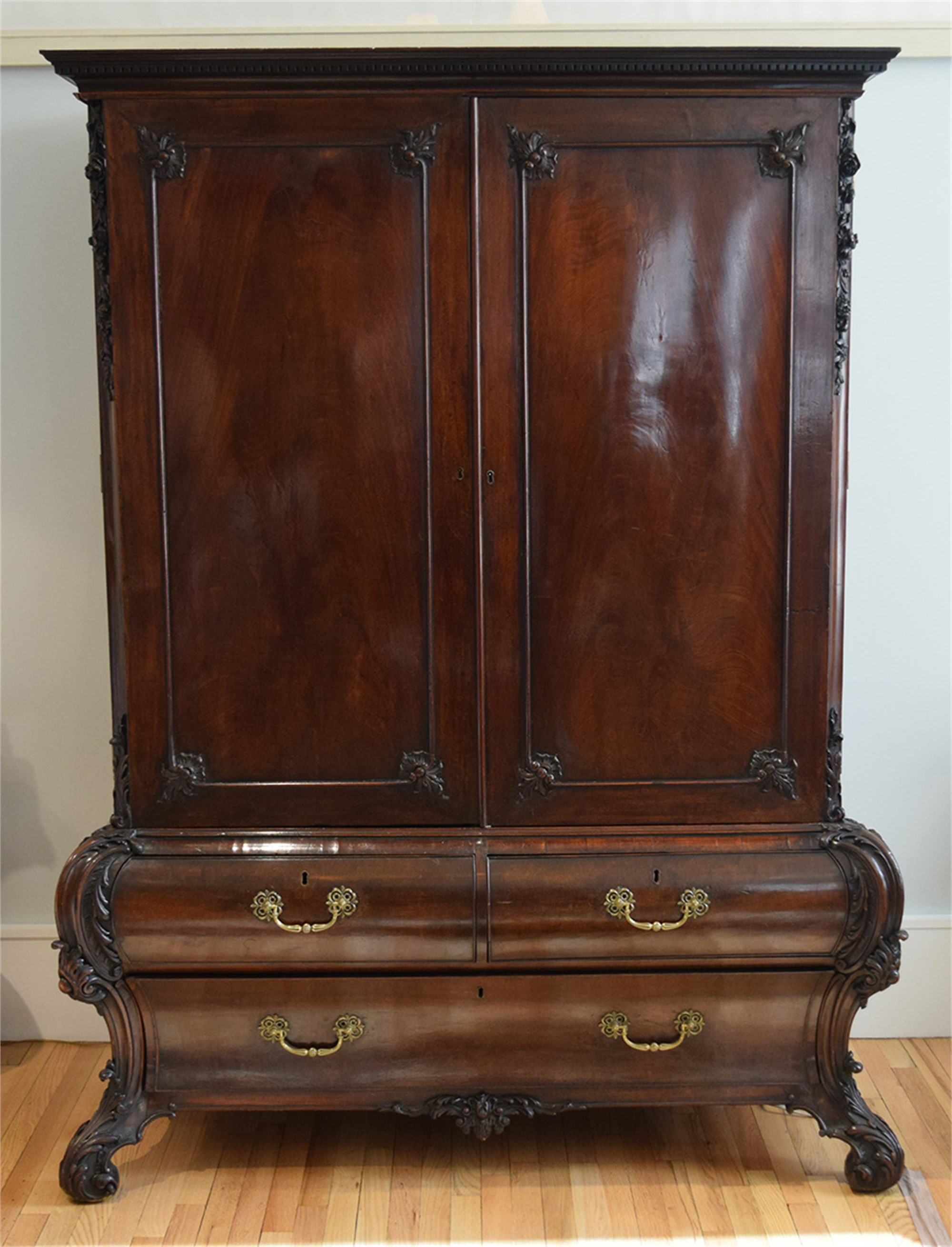 TWO PART WARDROBE ATTRIB. TO CHIPPENDALE