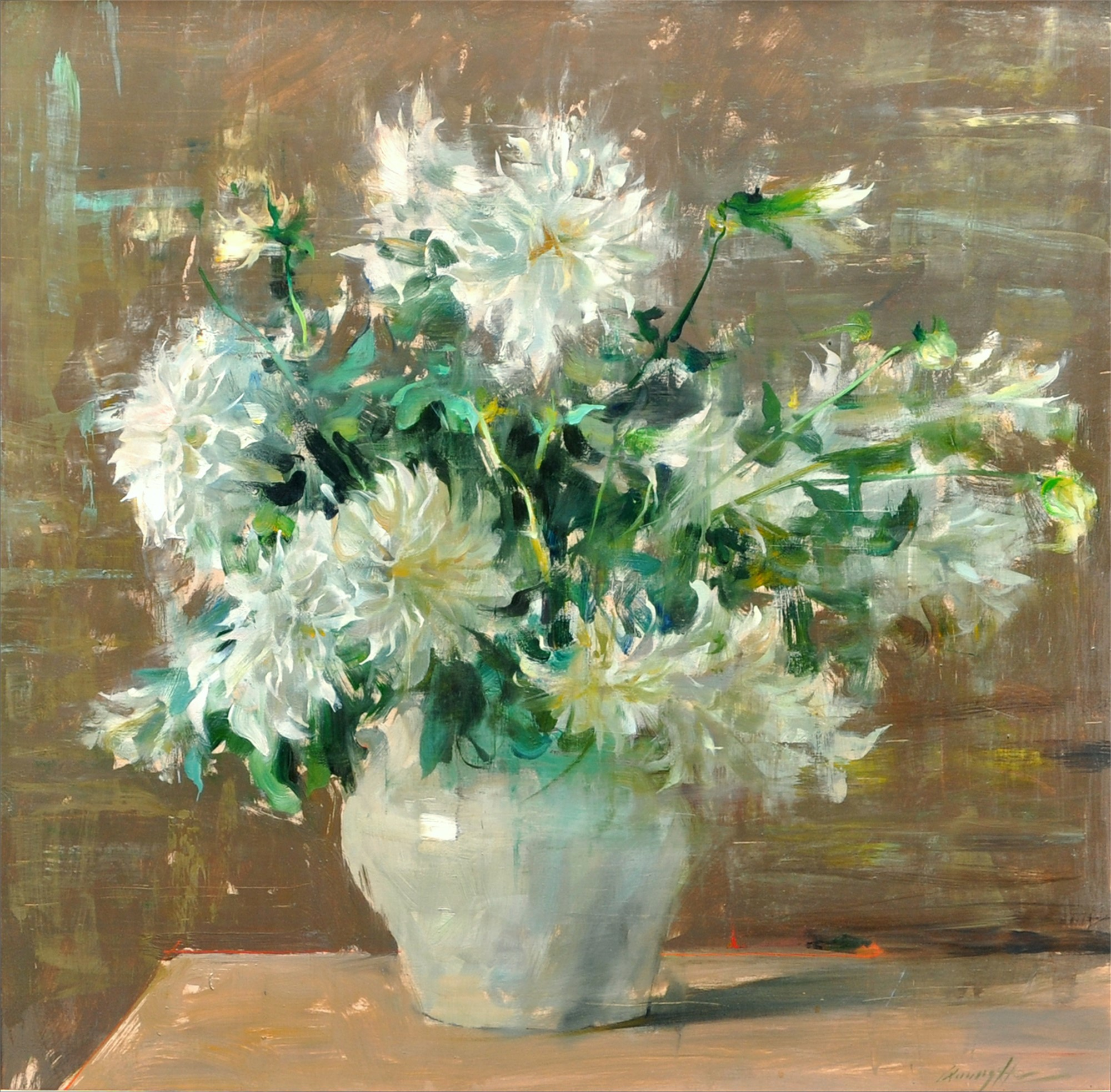 Dahlias in White Vase by Quang Ho