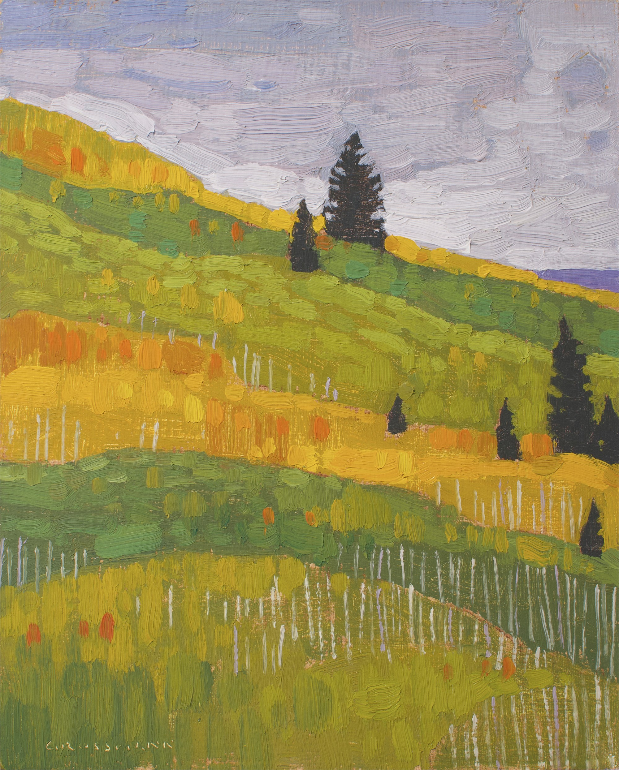 Pine Trees and Autumn Hill Colors by David Grossmann
