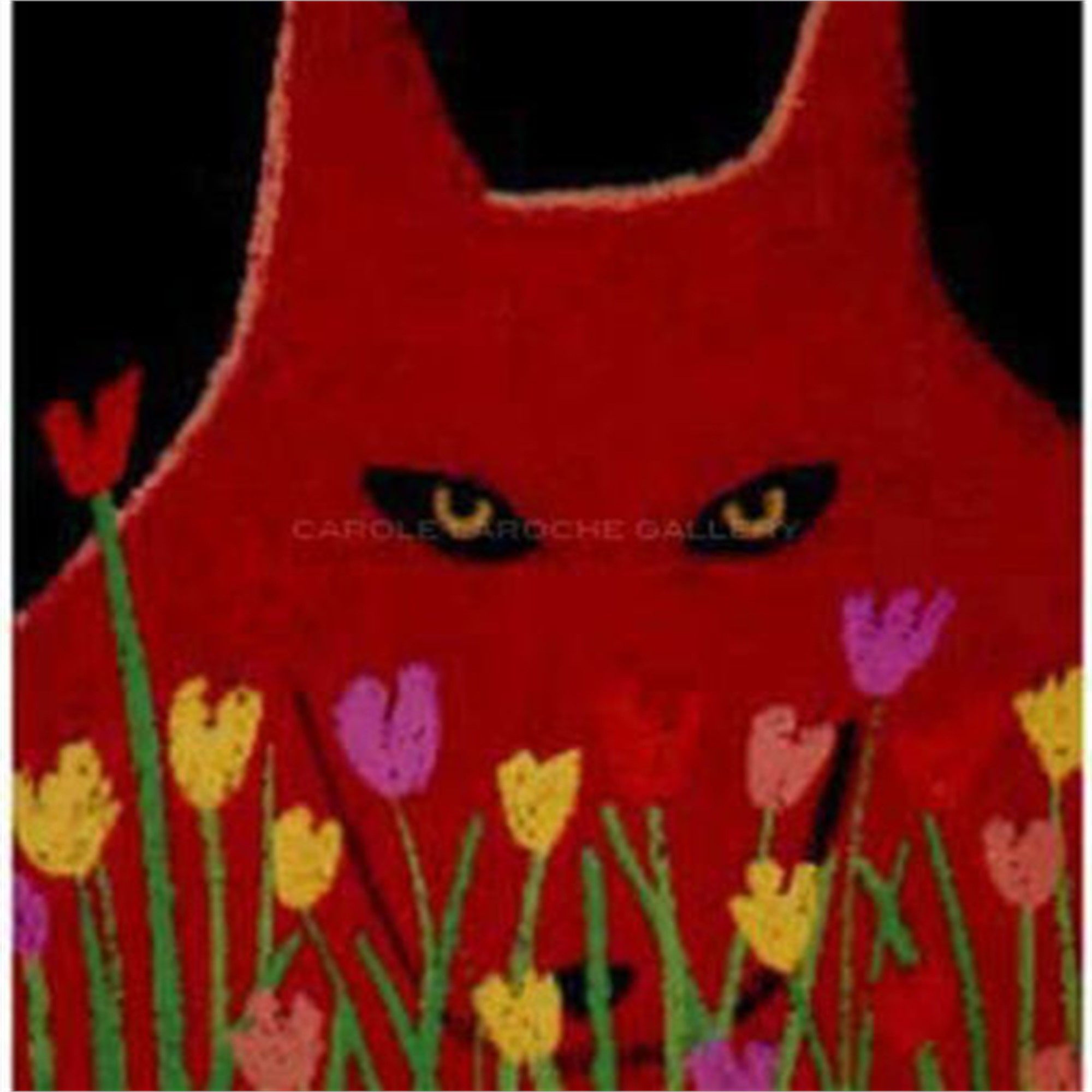 "SINGLE RED WOLF AND FLOWERS - limited edition giclee on paper w/frame size of 23""x20"" by Carole LaRoche"