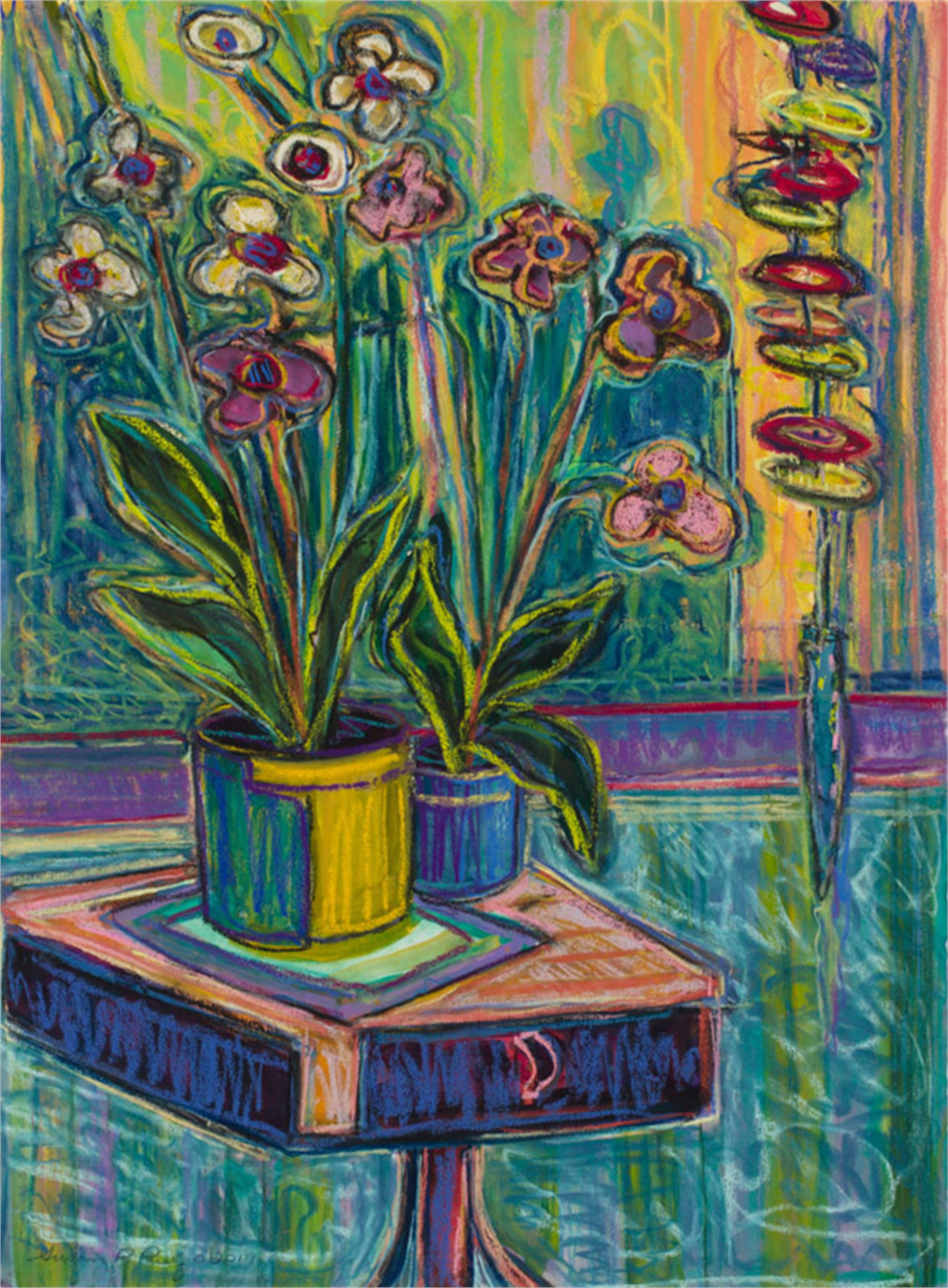 Two Orchids on a Danish Table by Susan Puelz