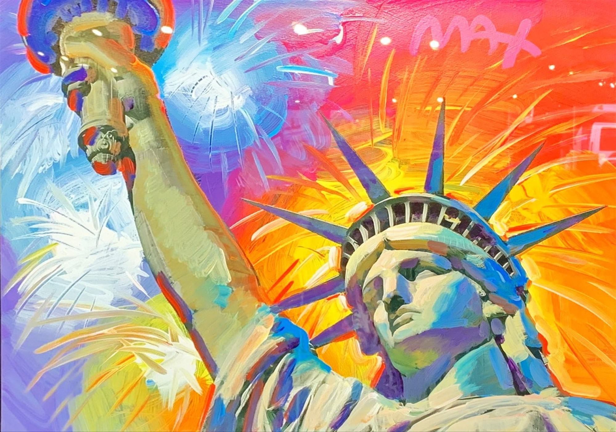 Statue of Liberty - Fireworks by Peter Max