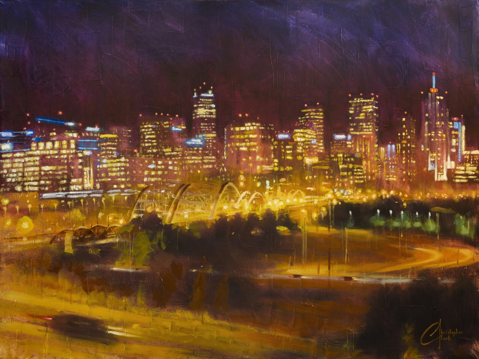Denver Skyline from Speer and 23rd Ave at Night by Christopher Clark