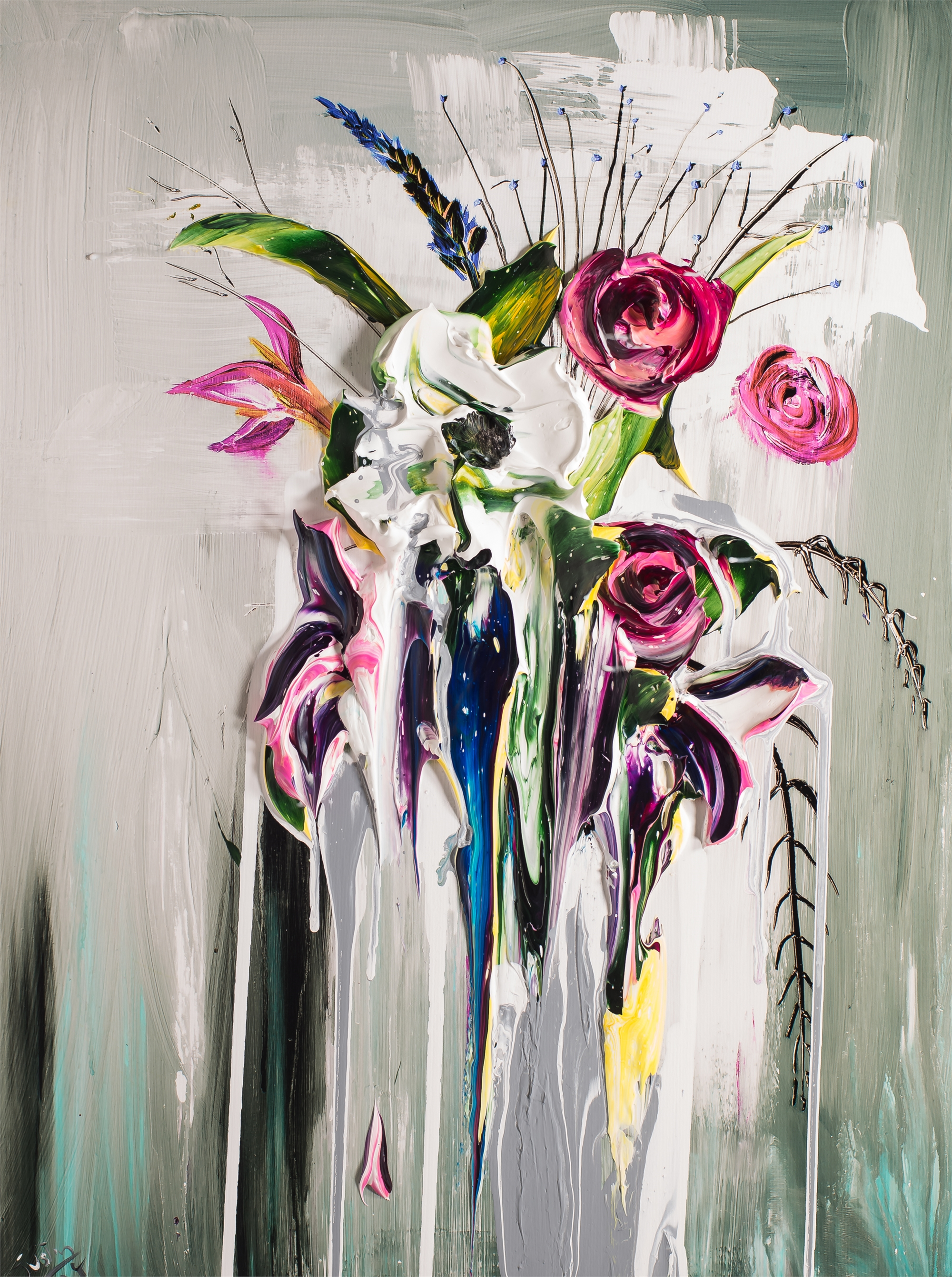 ABSTRACT FLORAL BOUQUET AFB24X32-2018-2.75NF HPAE 4/50 by Justin Gaffrey