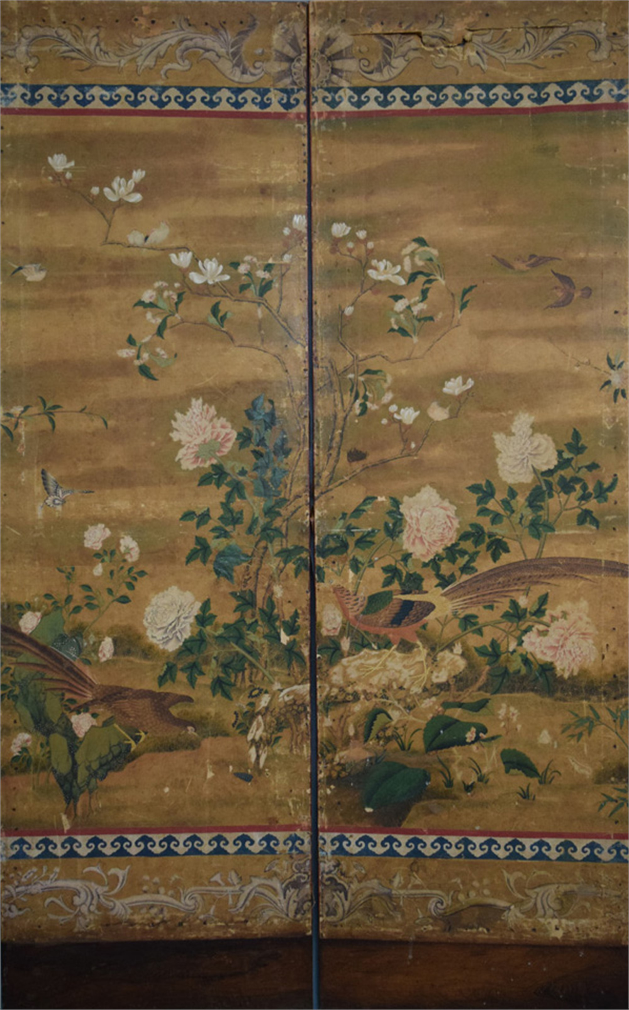 CHINESE TWO PANEL SCREEN WITH BIRDS, FLOWERS AND EUROPEAN MOTIFS