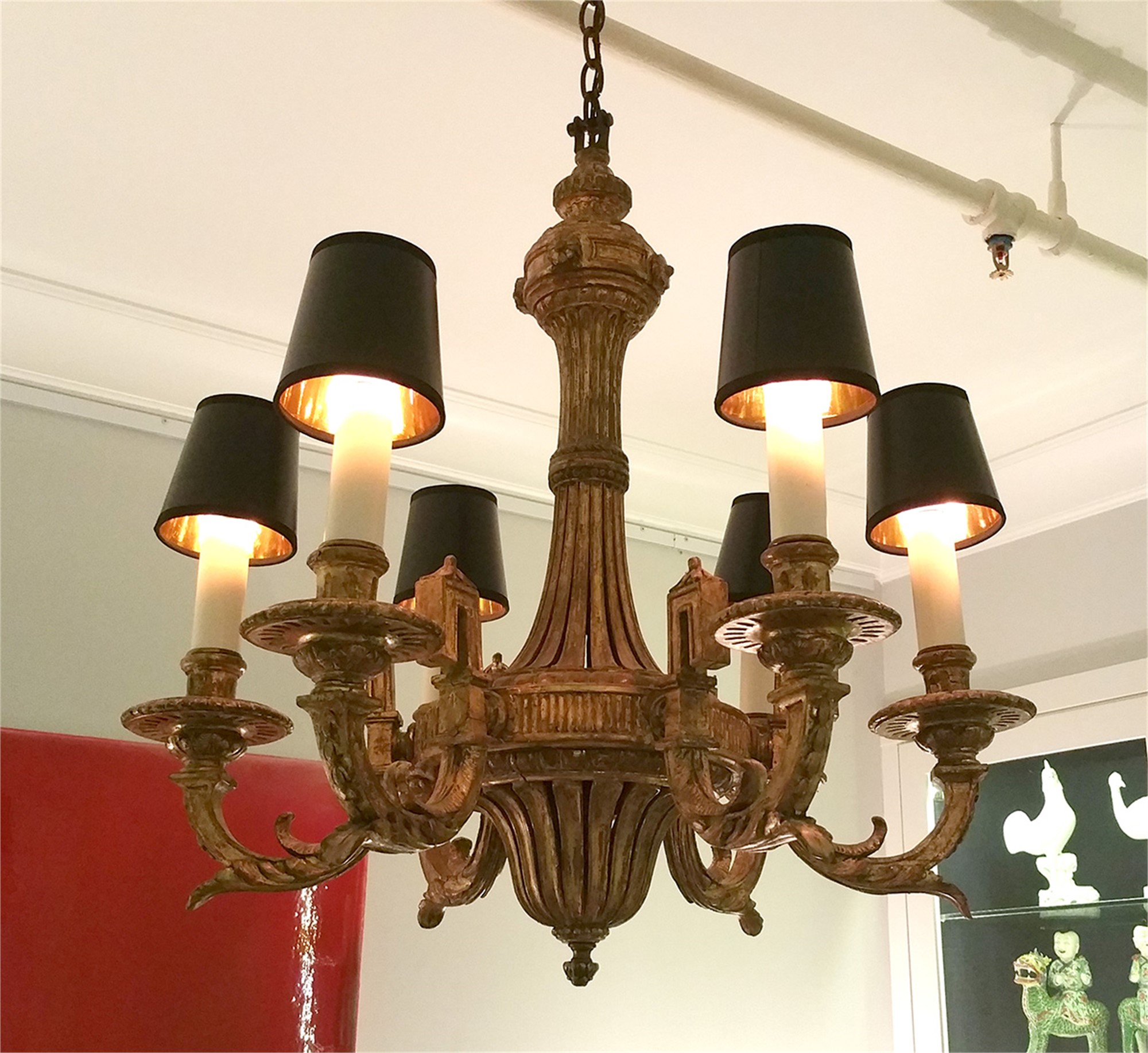 LOUIS XVI STYLE GILTWOOD SIX-LIGHT CHANDELIER