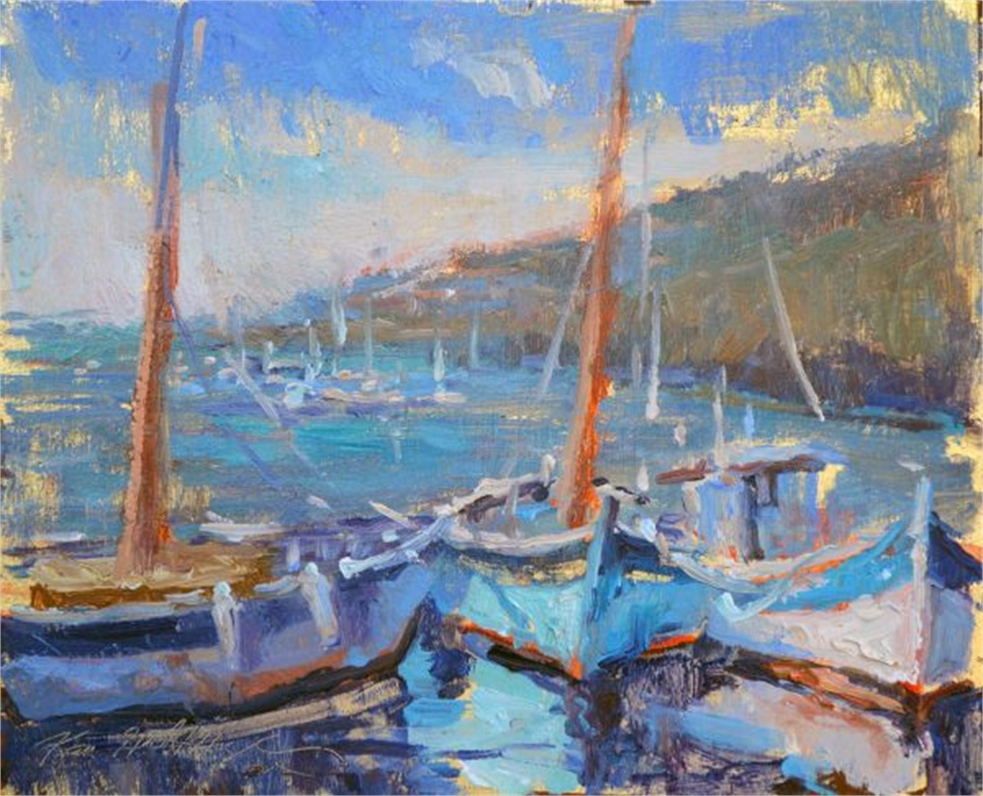 Fishing Boats South of France Coast by Karen Hewitt Hagan