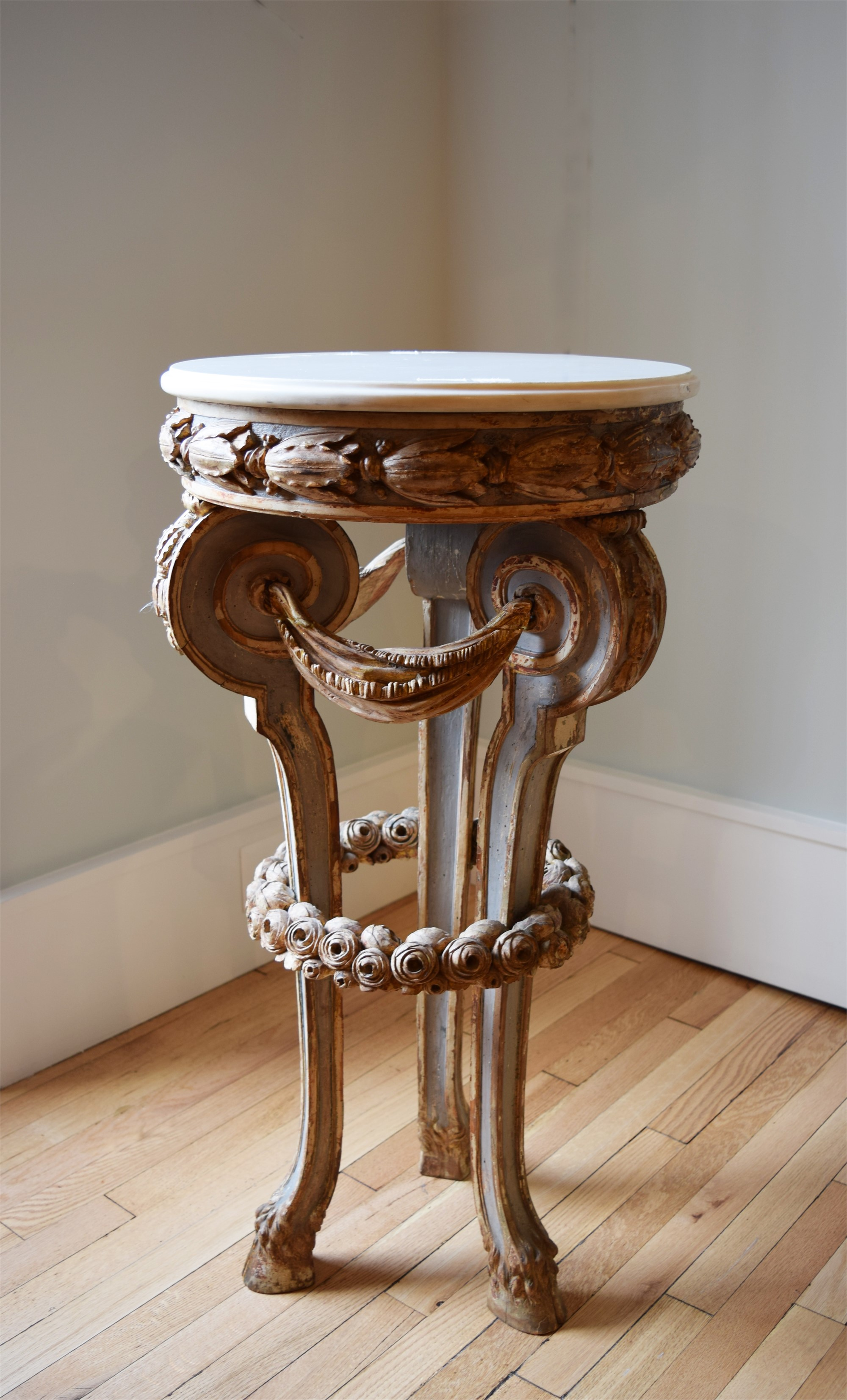 CONTINENTAL PARCEL-GILT AND PAINTED MARBLE-TOP GUERIDON