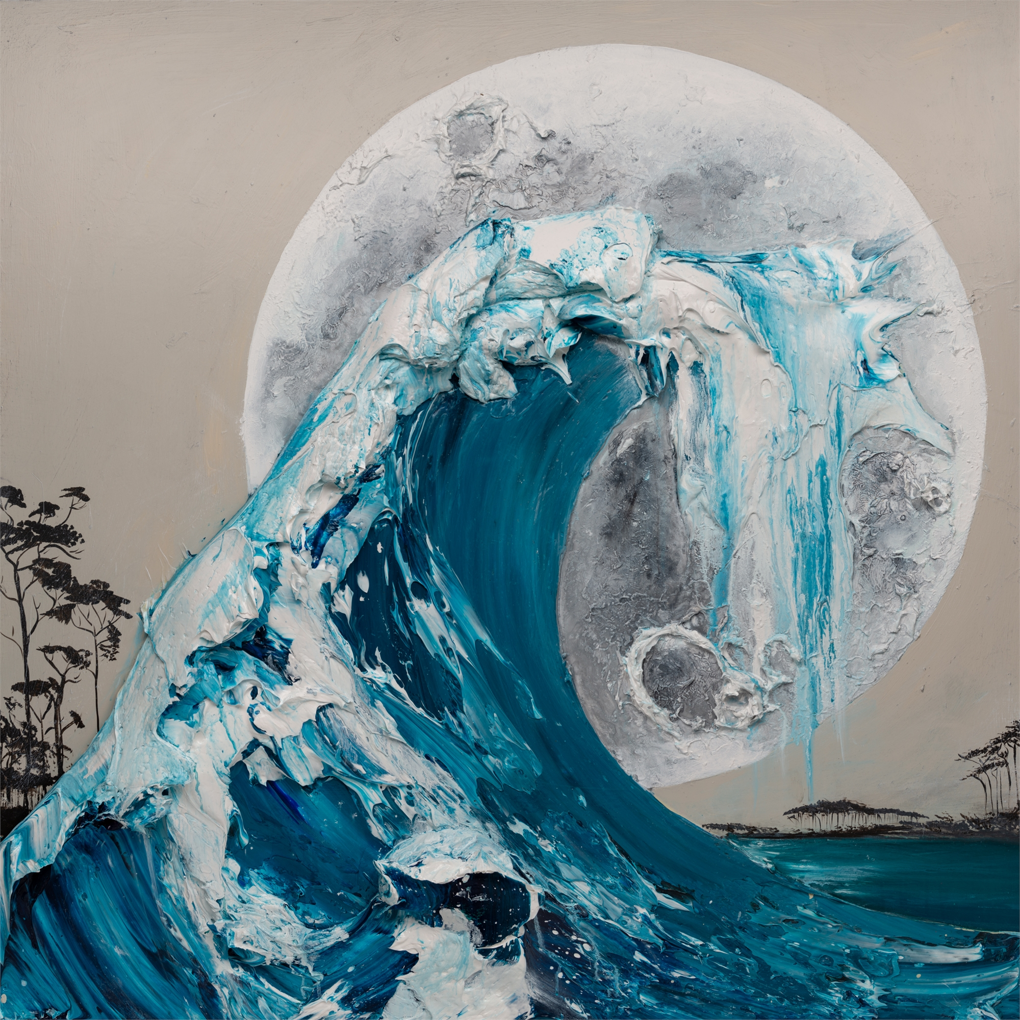 (SOLD) WAVE MOON 2 MS-48X48-2019-312 by JUSTIN GAFFREY