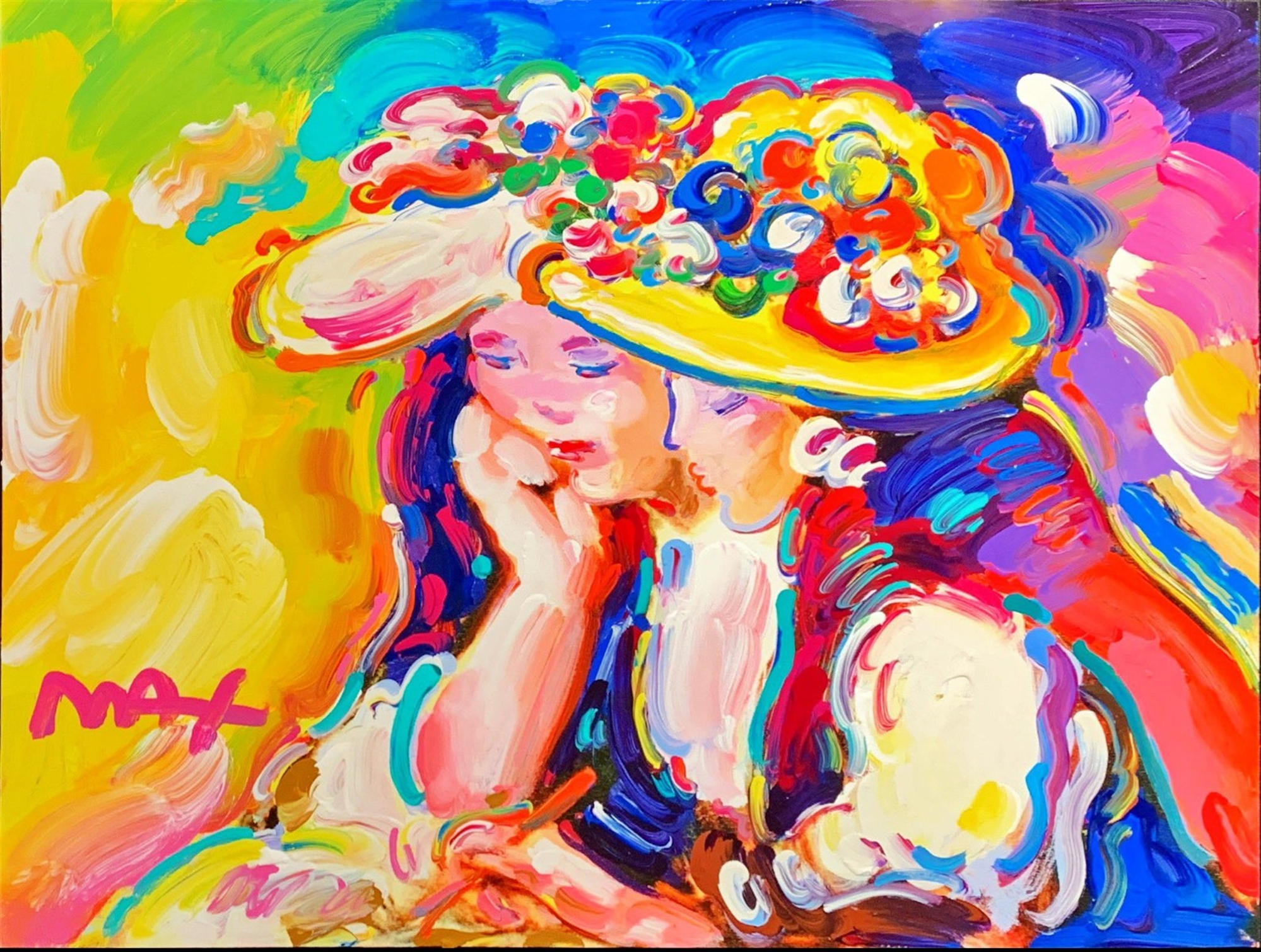 Homage to Renoir: Two Girls Reading in Garden by Peter Max