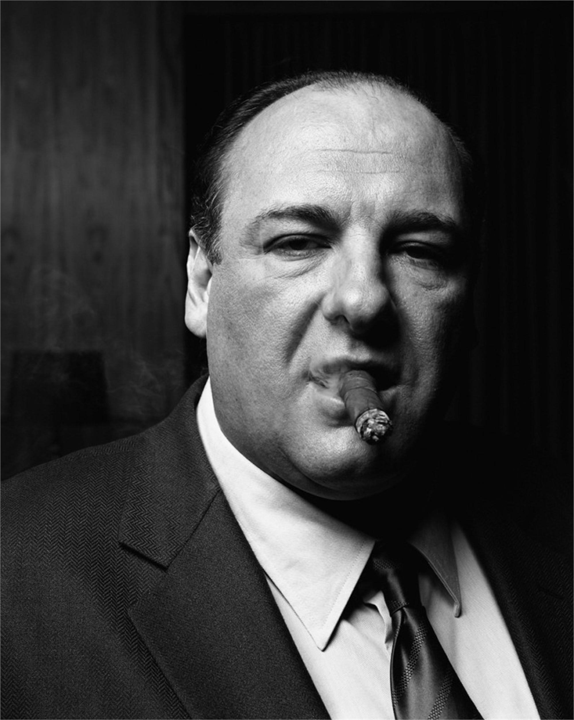 06072 James Gandolfini Cigar BW by Timothy White