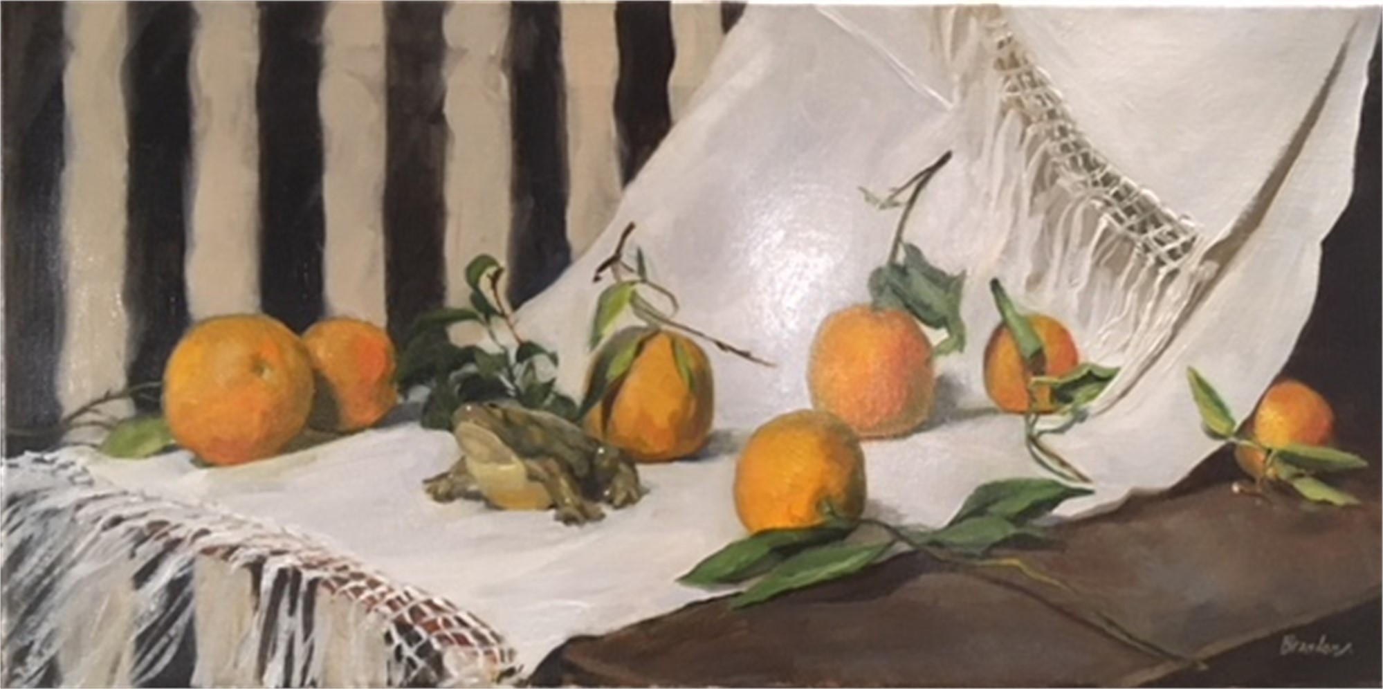 Oranges and China Frog by Linda Tracey Brandon