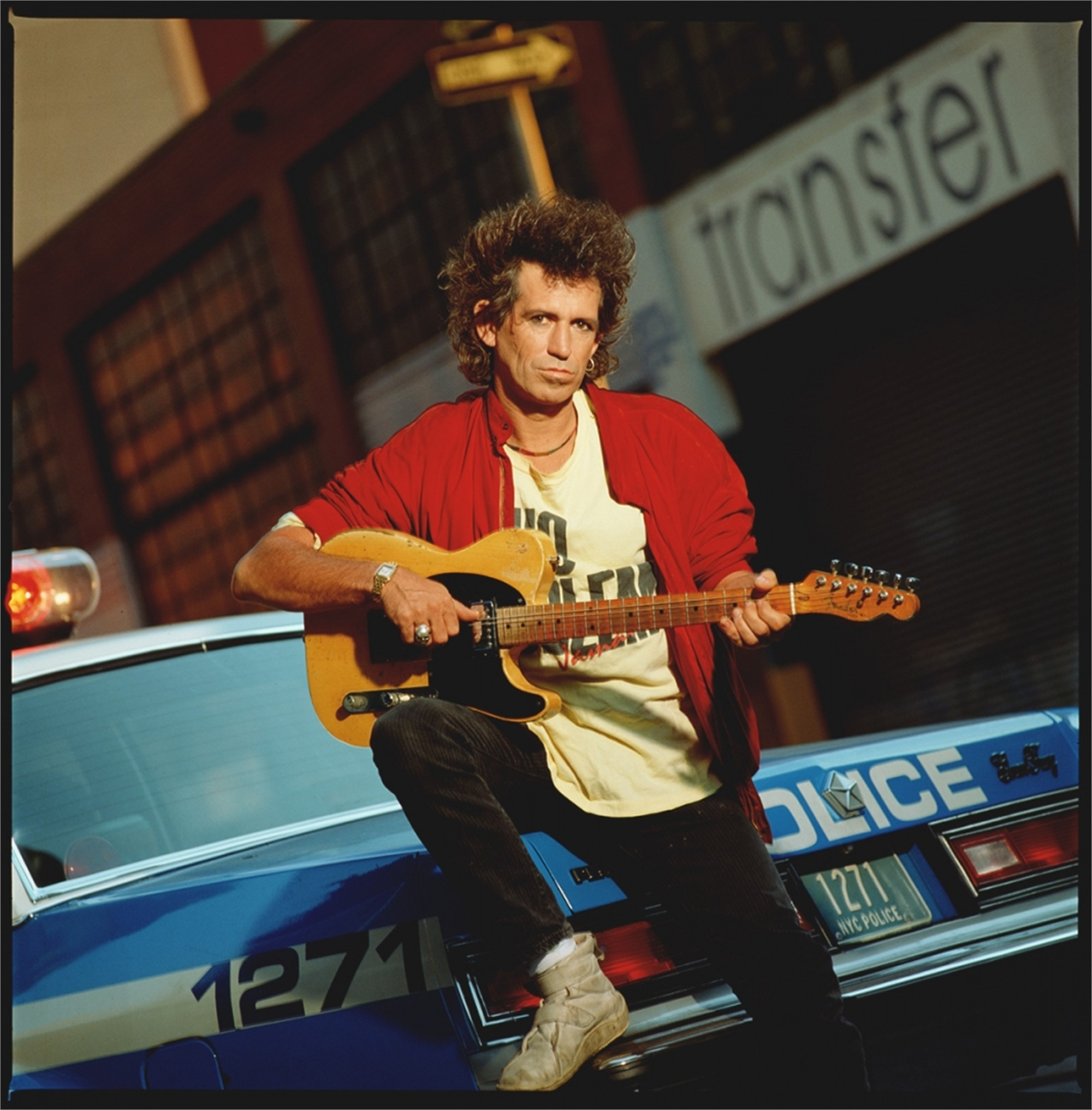 88146 Keith Richards On Police Car Color by Timothy White