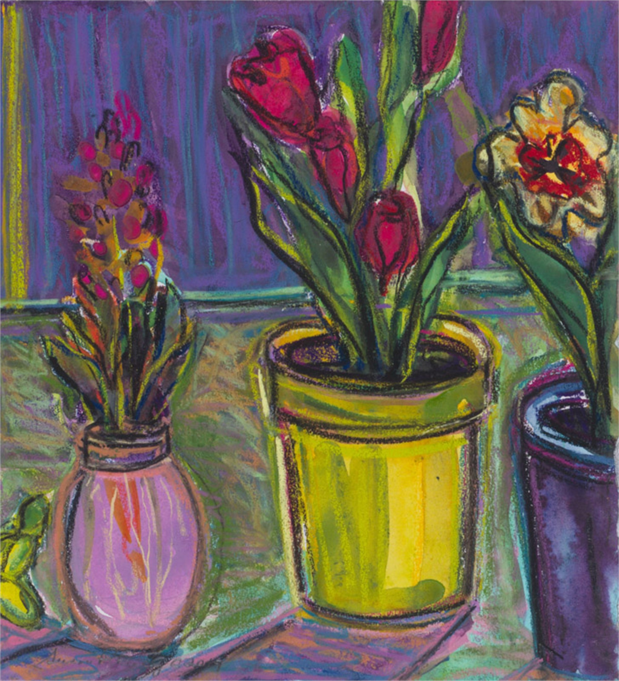 Hyacinth and Tulips I by Susan Puelz