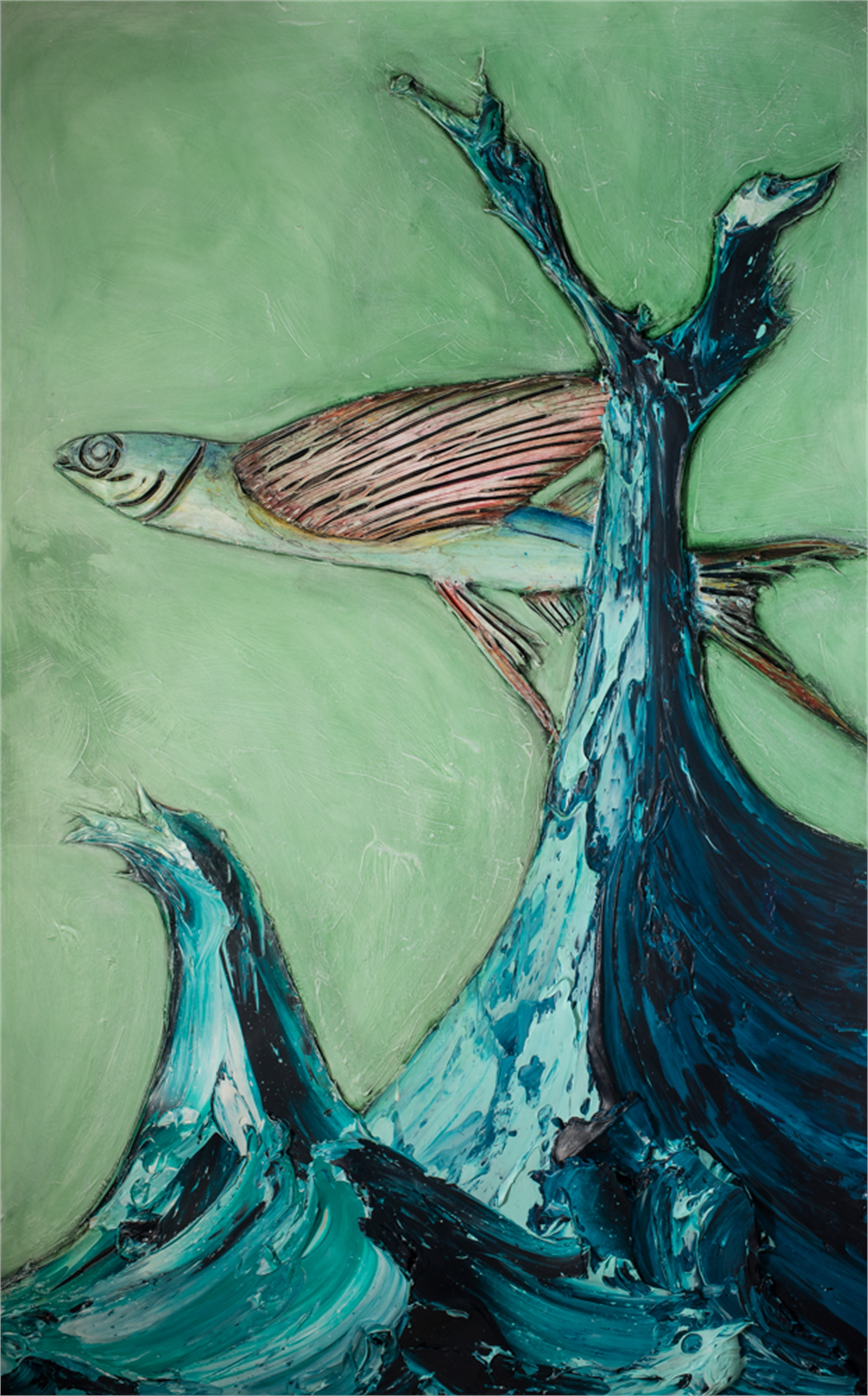 FLYING FISH AND WAVE FF60X96-2018-291FOOW by Justin Gaffrey