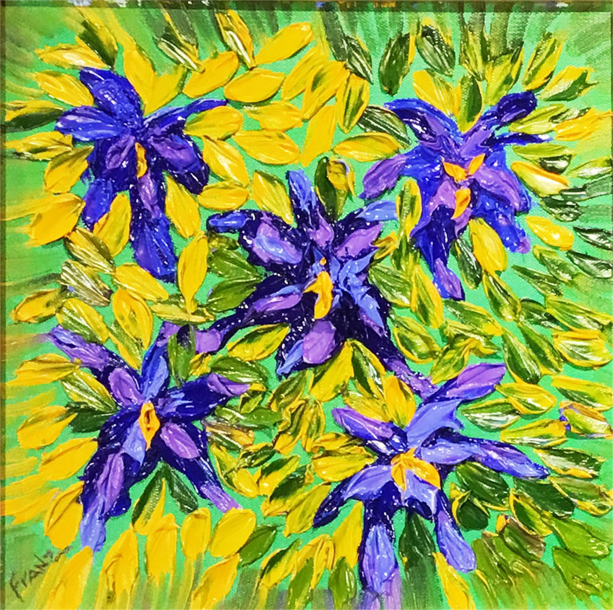 Blue Iris Impasto Oil Painting by Franz Fox