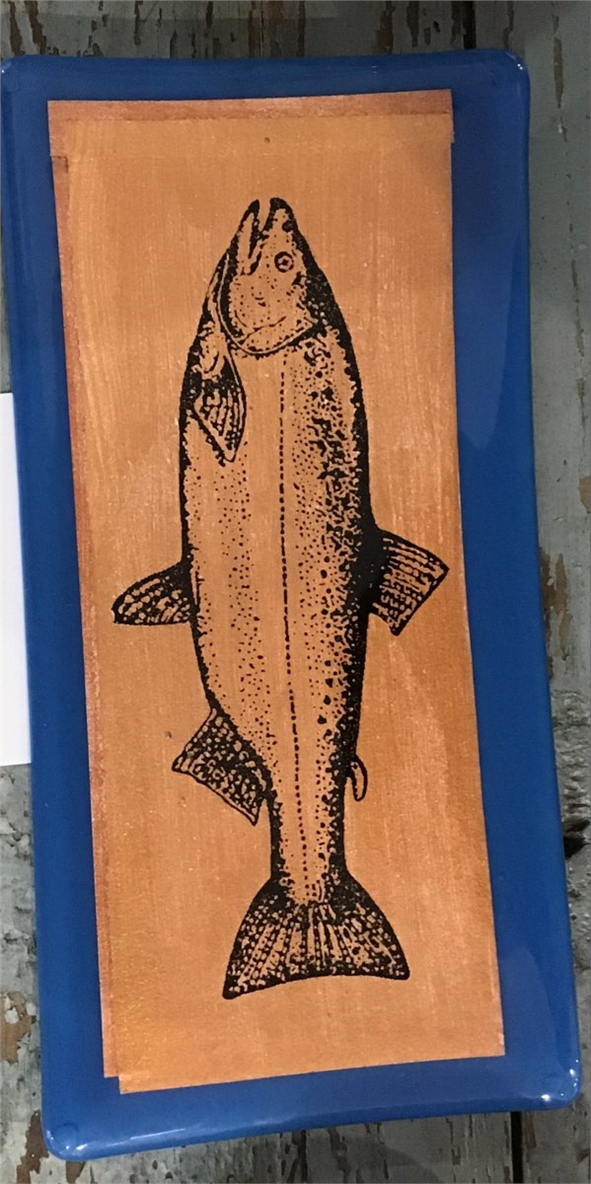 """5 """" x 10"""" Fish Plate by Marian Pyron"""