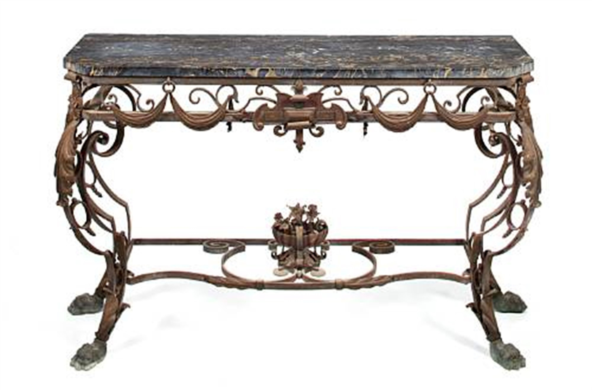 BAROQUE STYLE WROUGHT IRON AND PORTOR MARBLE CONSOLE TABLE