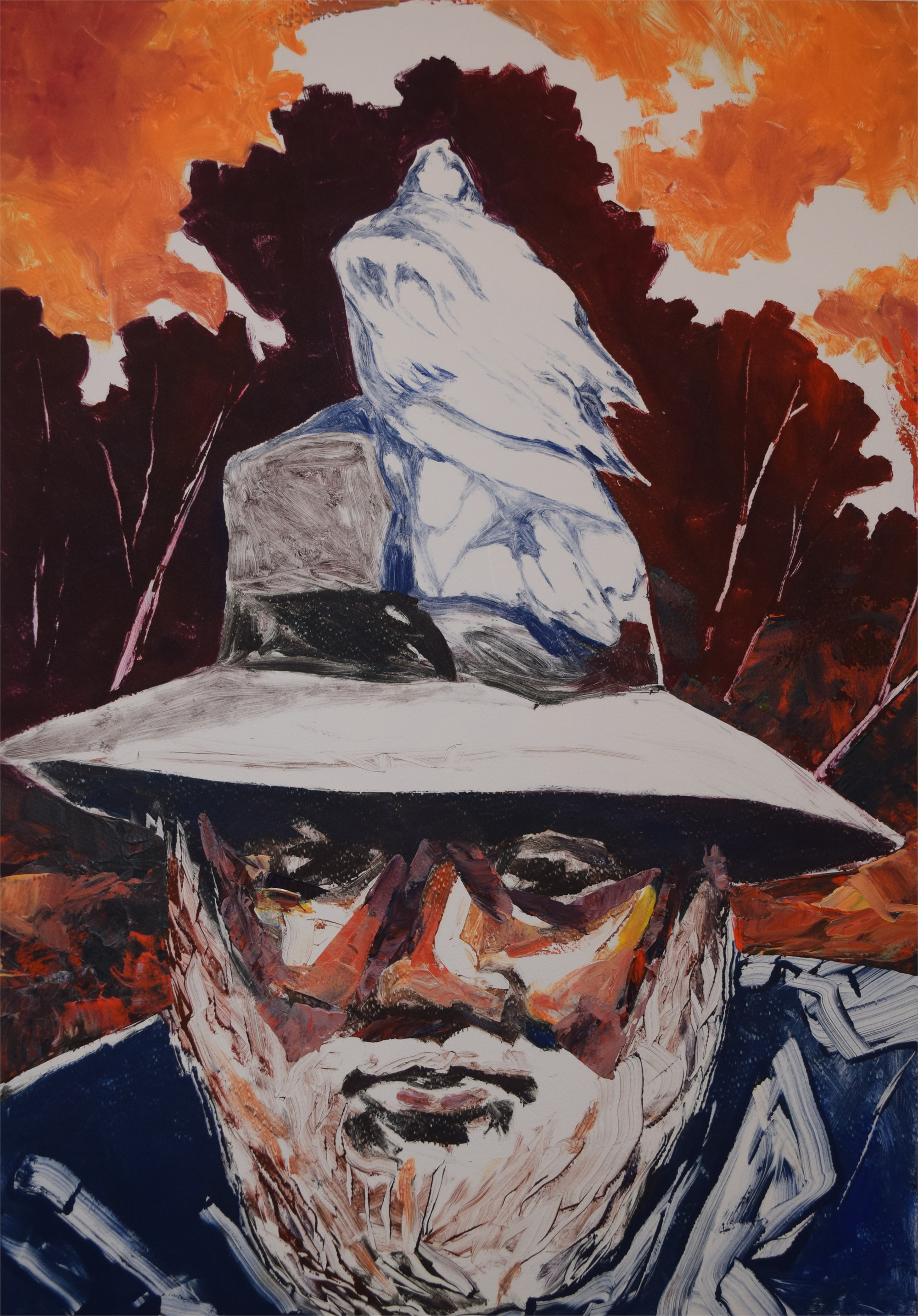 Old Man Lofton with Bird by Karl E. Hall