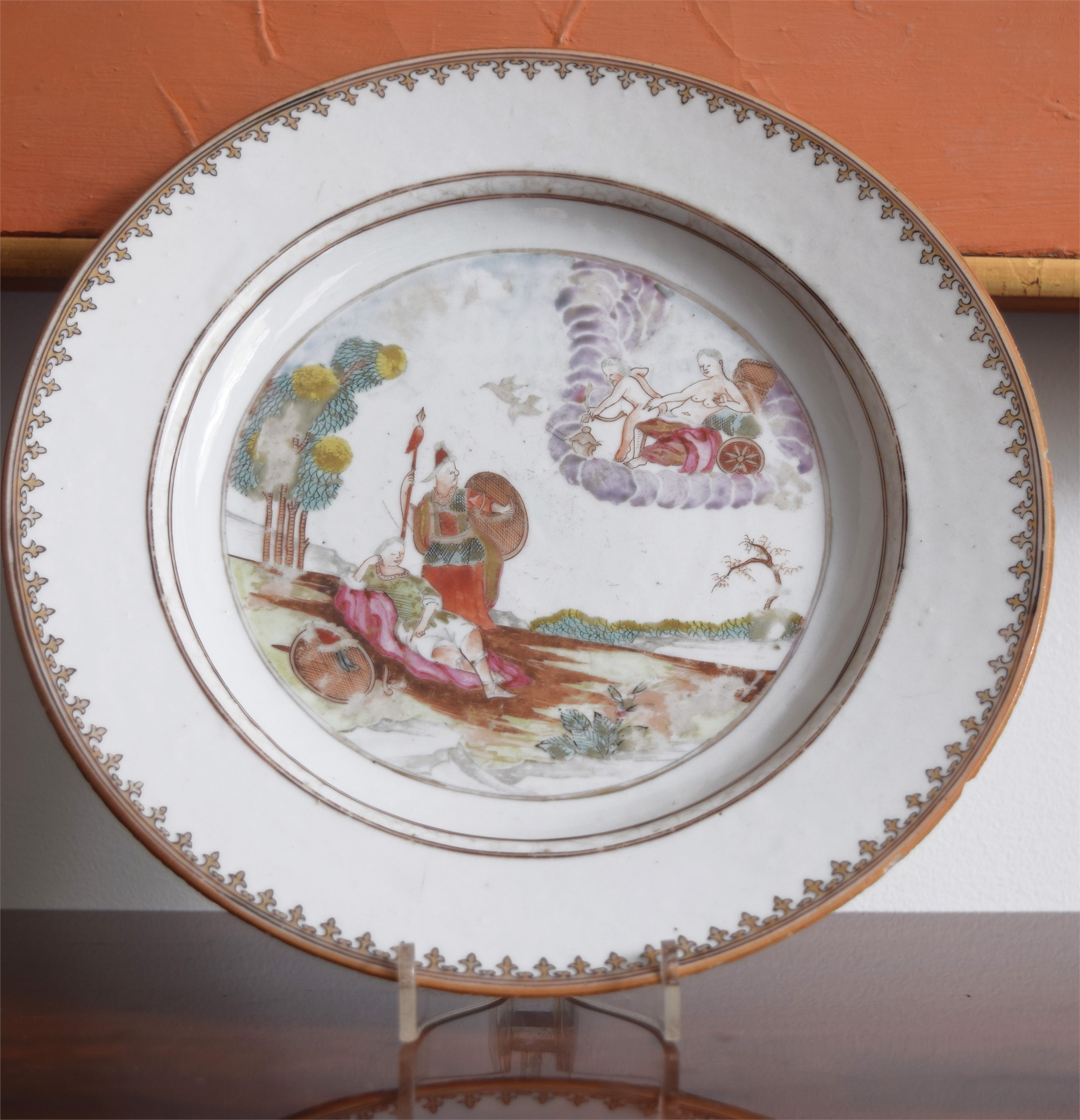 AN EXPORT PLATE WITH MYTHOLOGICAL SCENE OF VENUS IN HER CHARIOT SURROUNDED BY CLOUDS
