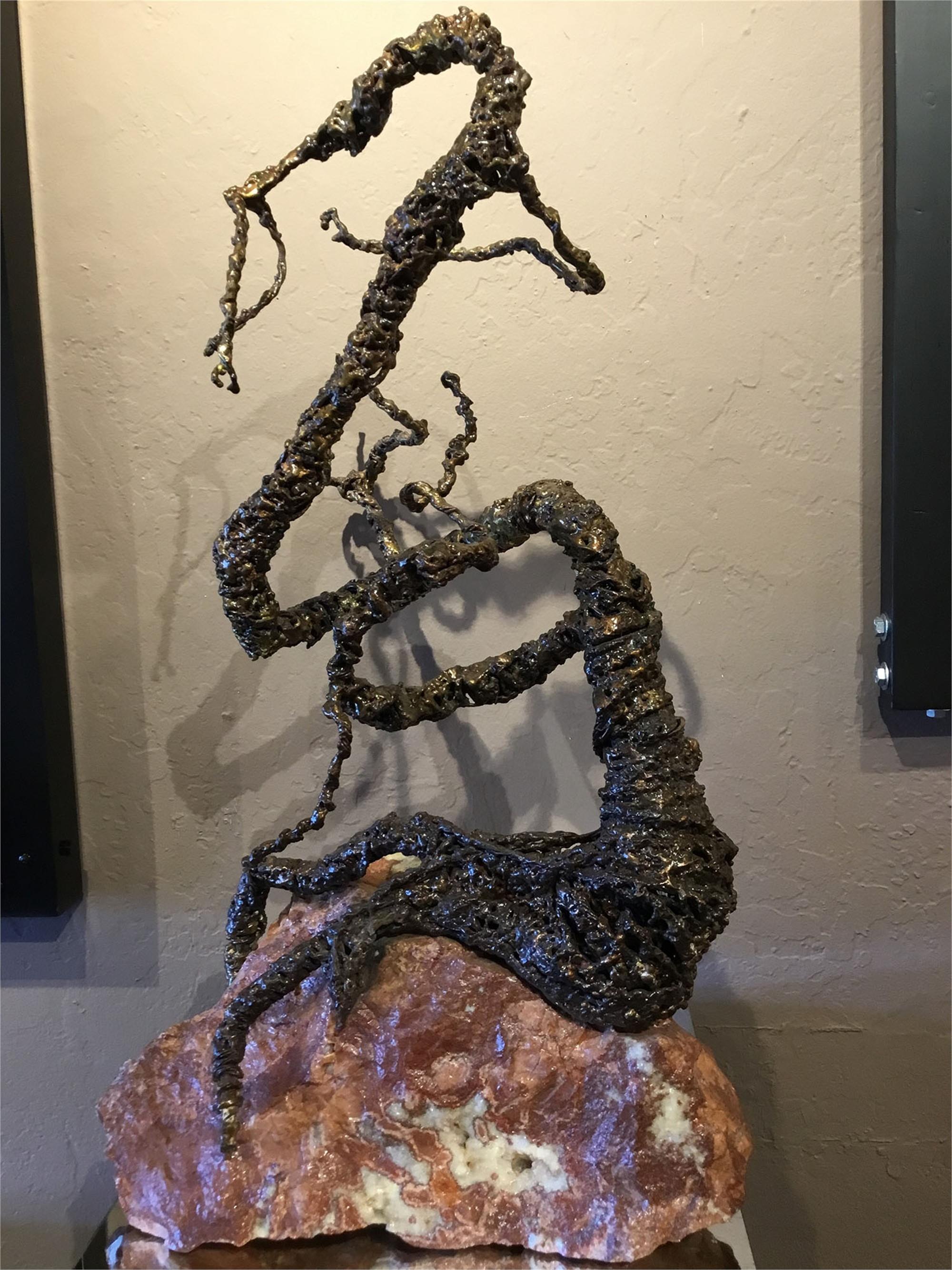 Tri-Metal Dragon on Pink Granite by Craig Christopherson