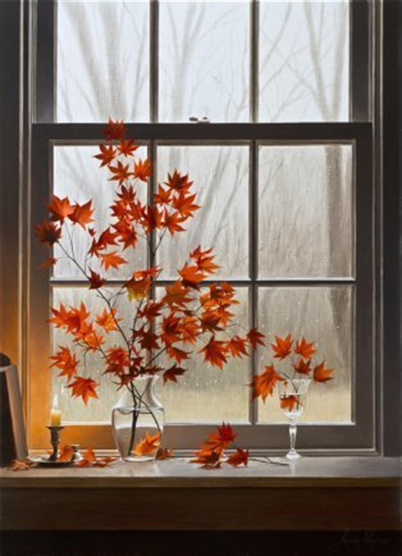 Autumn Window with Oriental Maple by Alexander Volkov